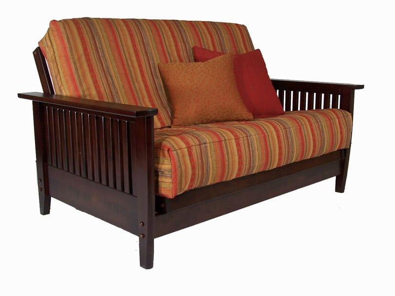 Denali Warm Cherry Queen Loveseat Wall Hugger Futon Frame By Strata Furniture