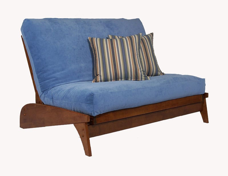 Wonderful Dillon Warm Cherry Loveseat Wall Hugger Futon Frame By Strata Furniture