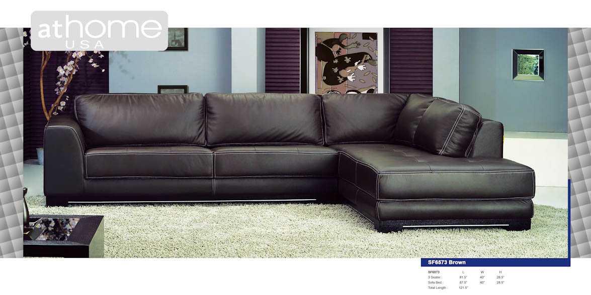 Sf6573b Brown Italian Leather Sectional Sofa By At Home