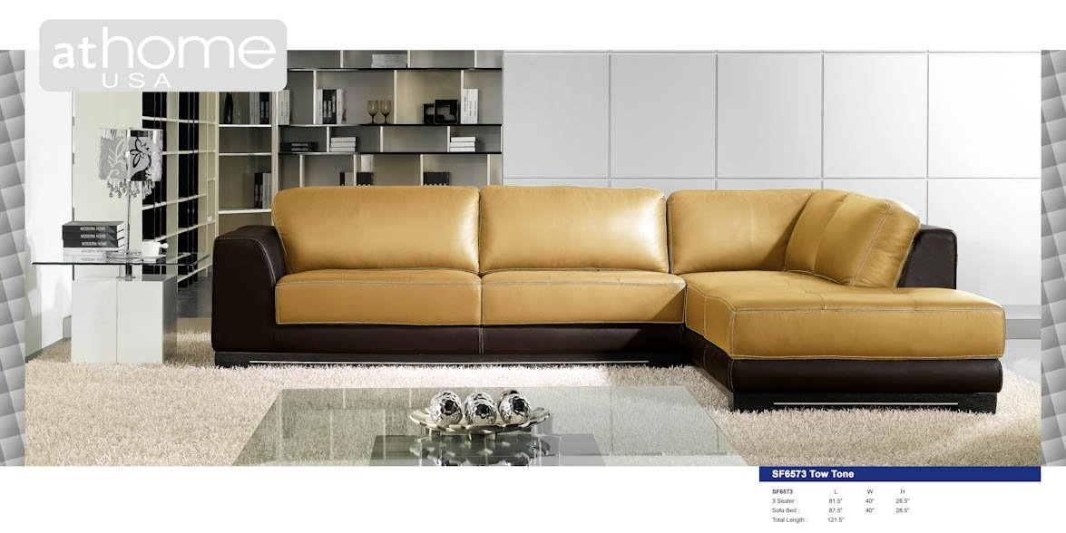 sf6573bc two tone italian leather sectional sofa by at home