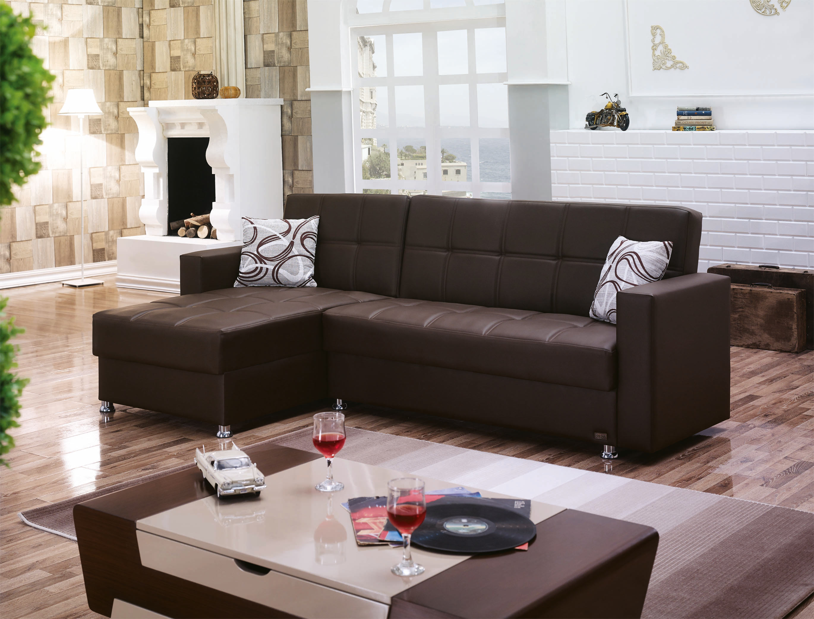 Salem Dark Brown Leather Sectional Sofa by Empire Furniture USA