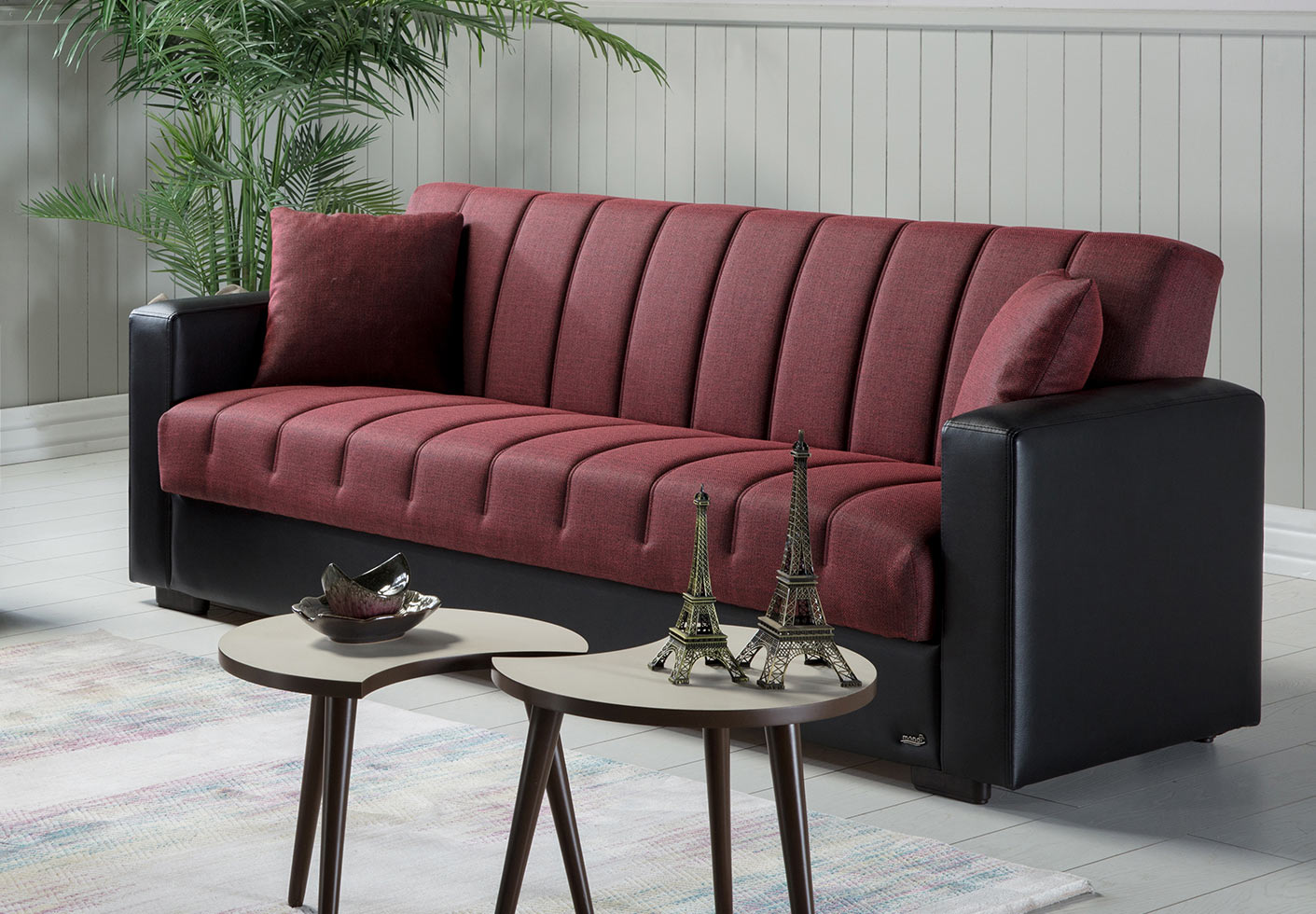 Sidney Bolzoni Red Convertible Sofa Bed by Istikbal Furniture
