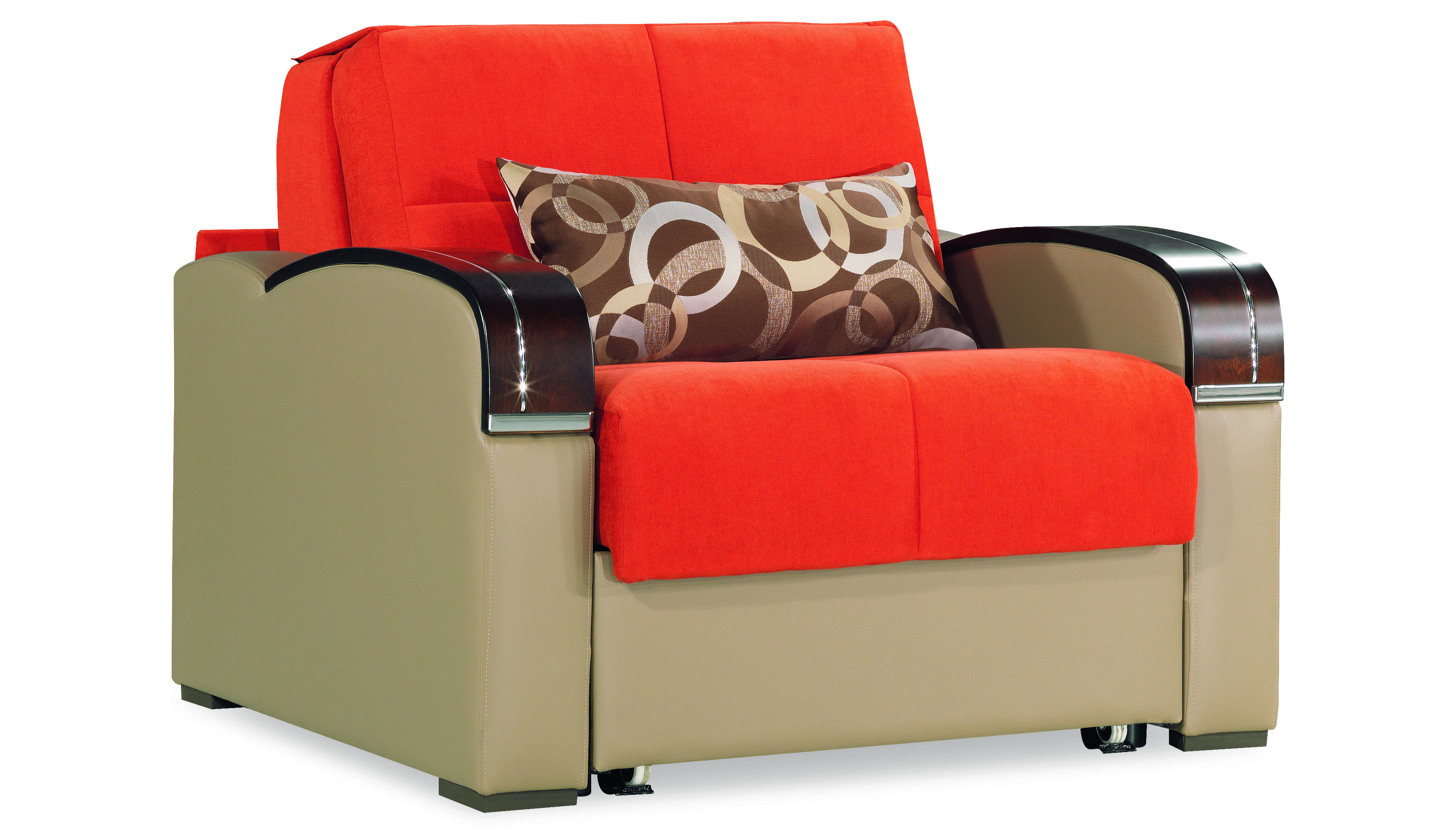 Sleep Plus Orange Convertible Chair Bed By Casamode