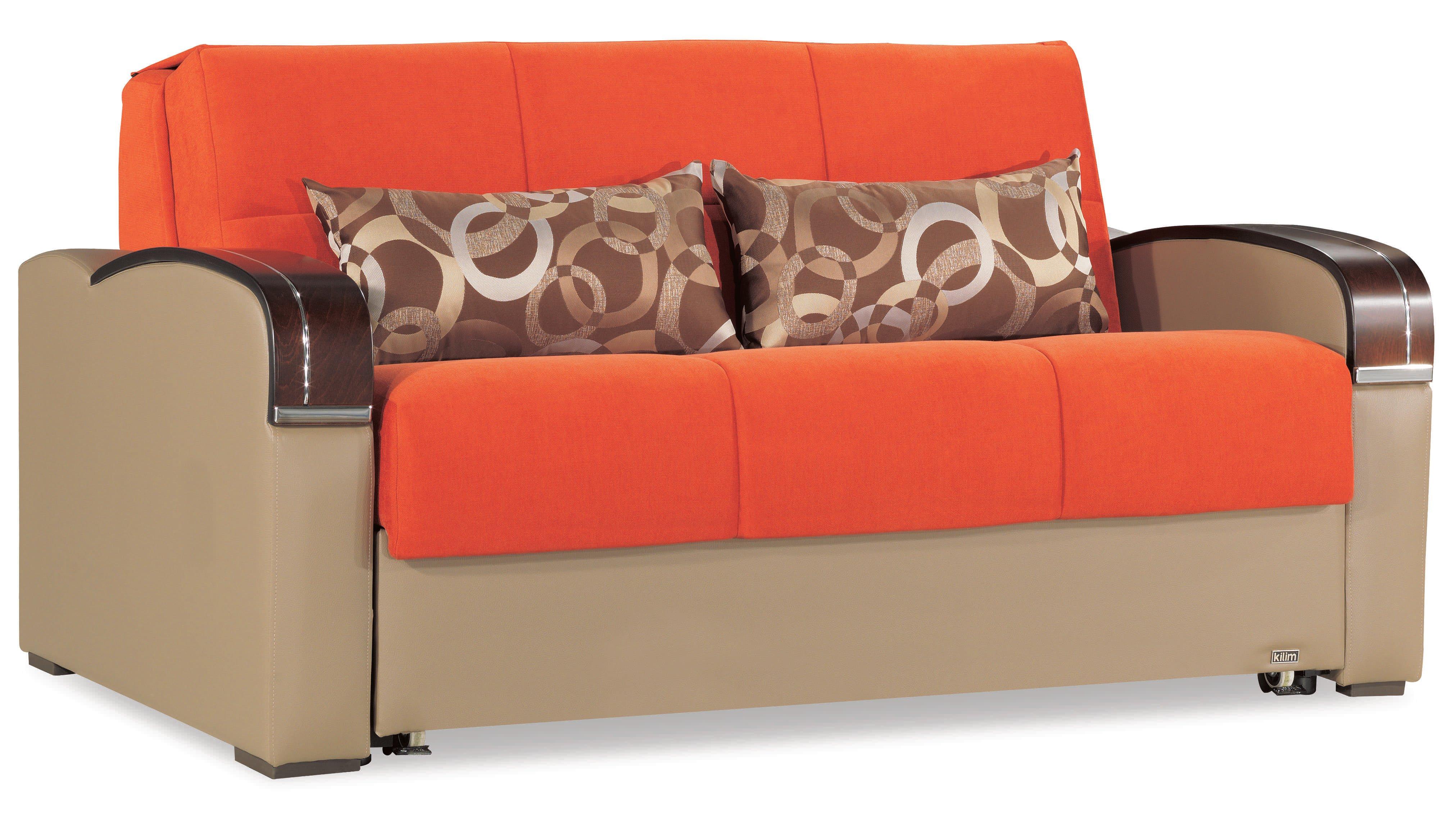 Sleep Plus Orange Loveseat Full Sleeper by Casamode