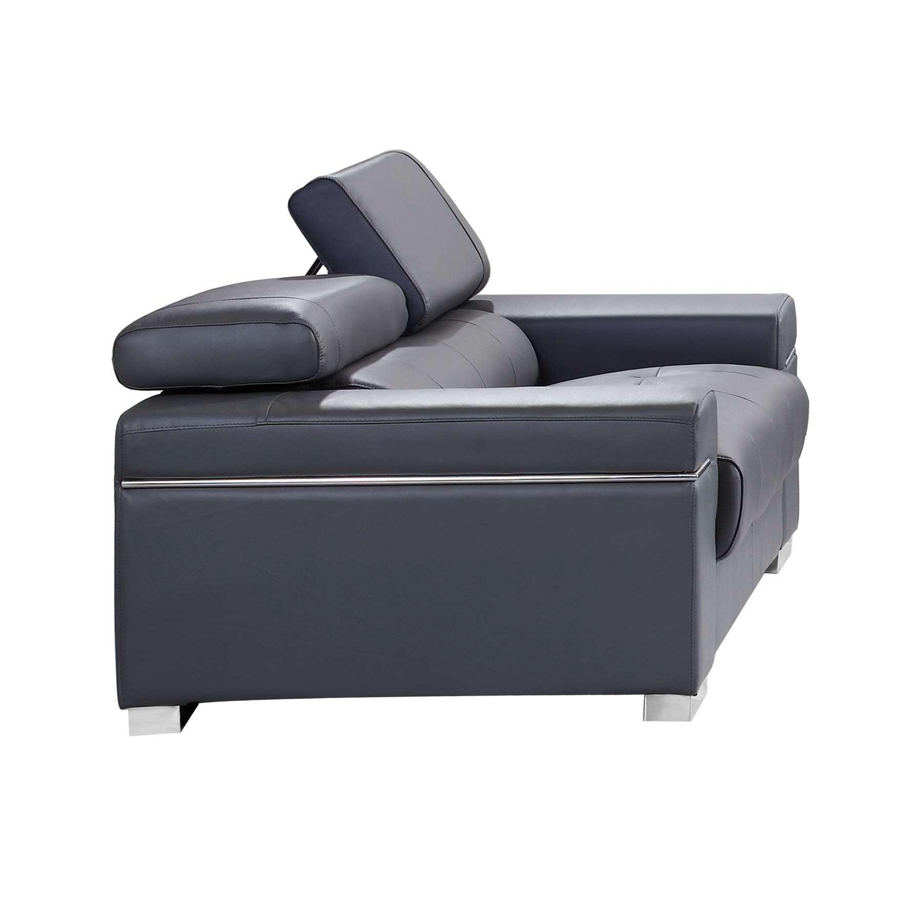 Soho Premium Italian Leather Loveseat Gray By J&M Furniture