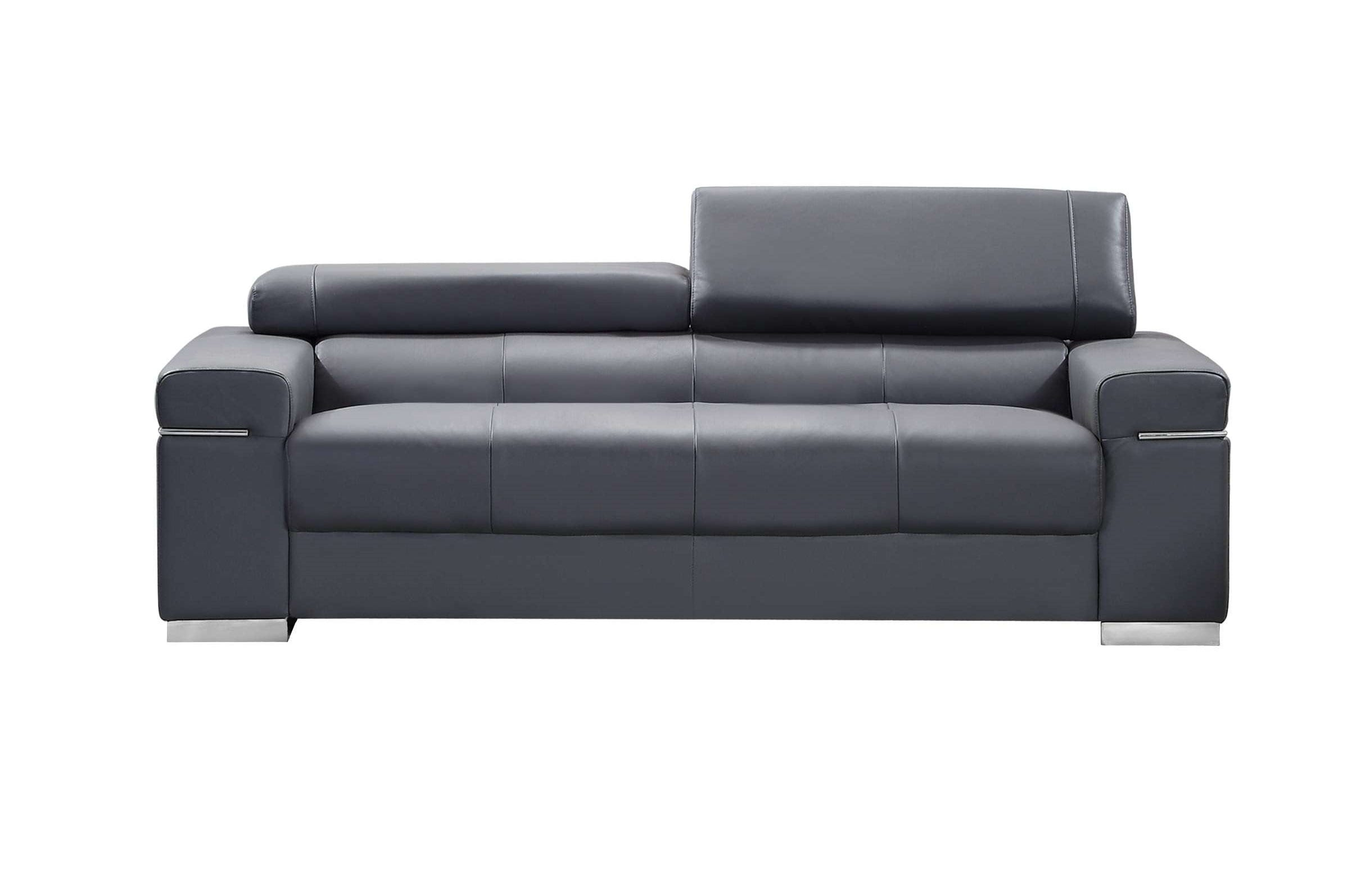 Italian Leather Sofa Gray By J M Furniture