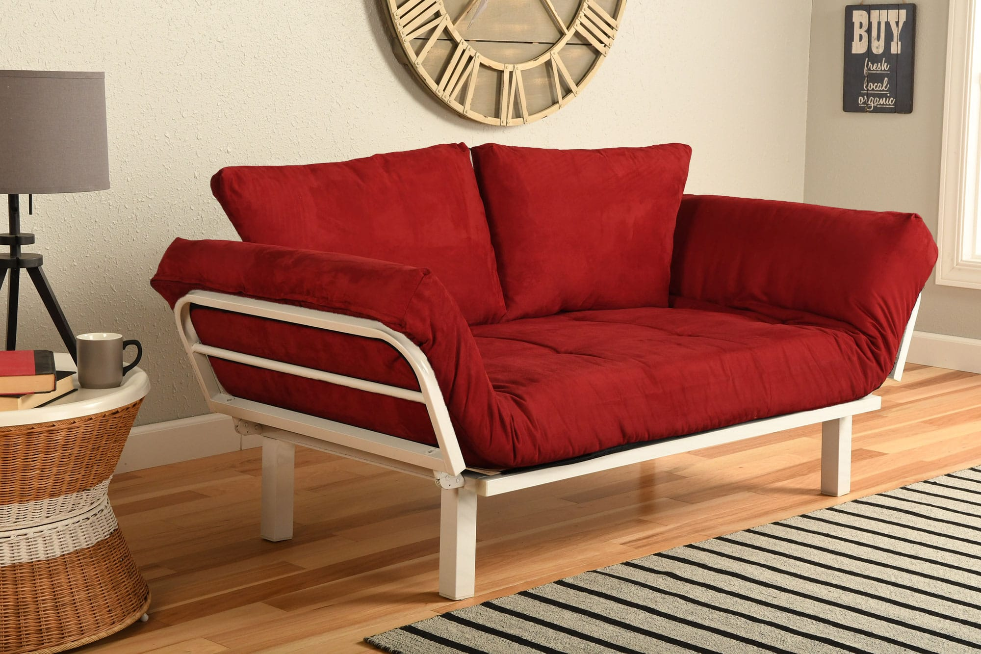 Spacely Futon Daybed/Lounger White with Mattress Suede Red by Kodiak