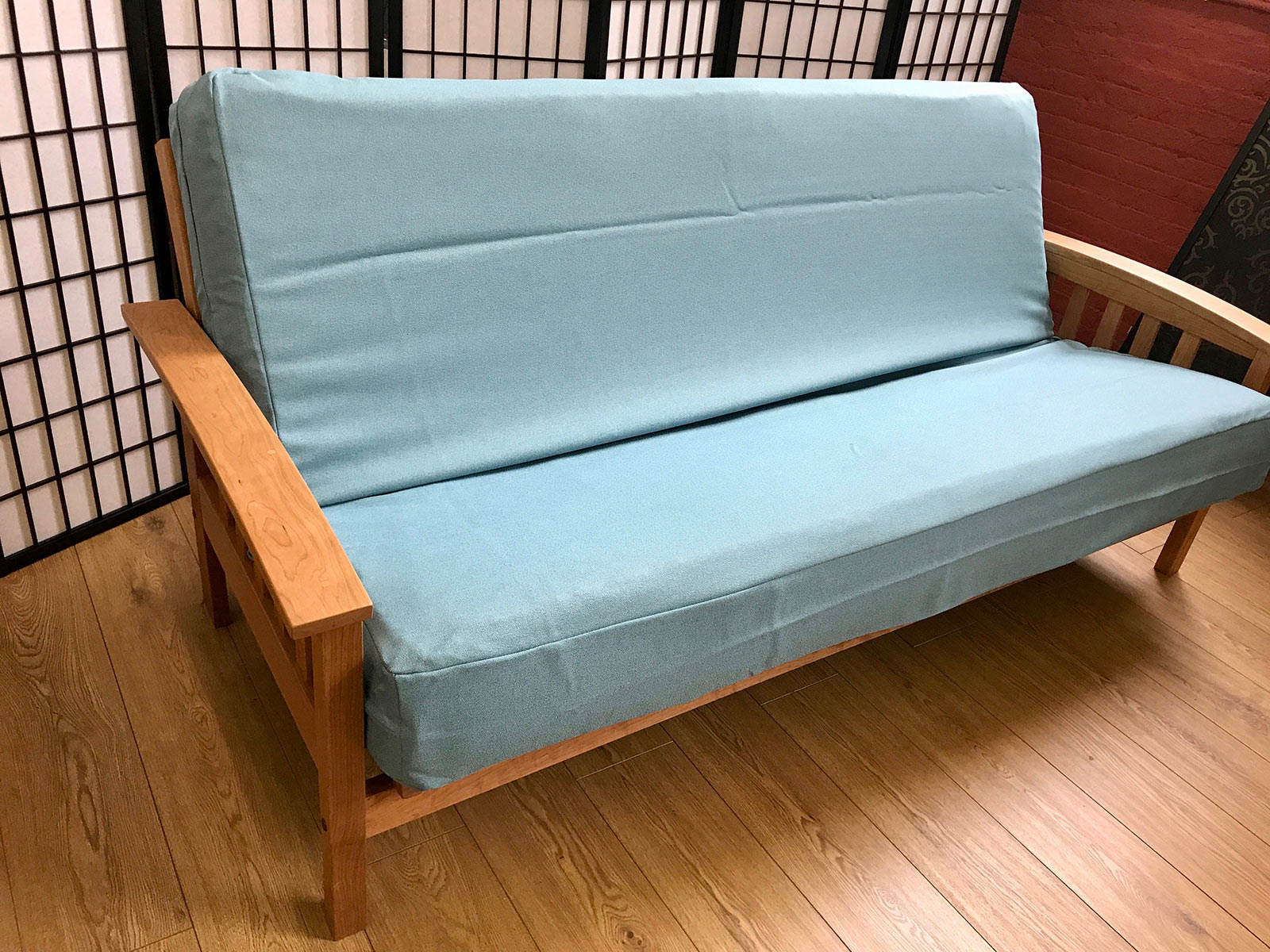 futon two couch sofa living room leather denim cover dfs futons sofas pottery barn seat blue covers slipcover event for decor livingroom