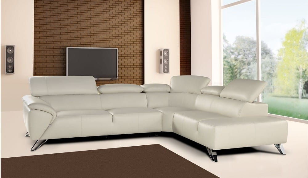 Tesla Premium Italian Leather Sectional Sofa White by J&M Furniture
