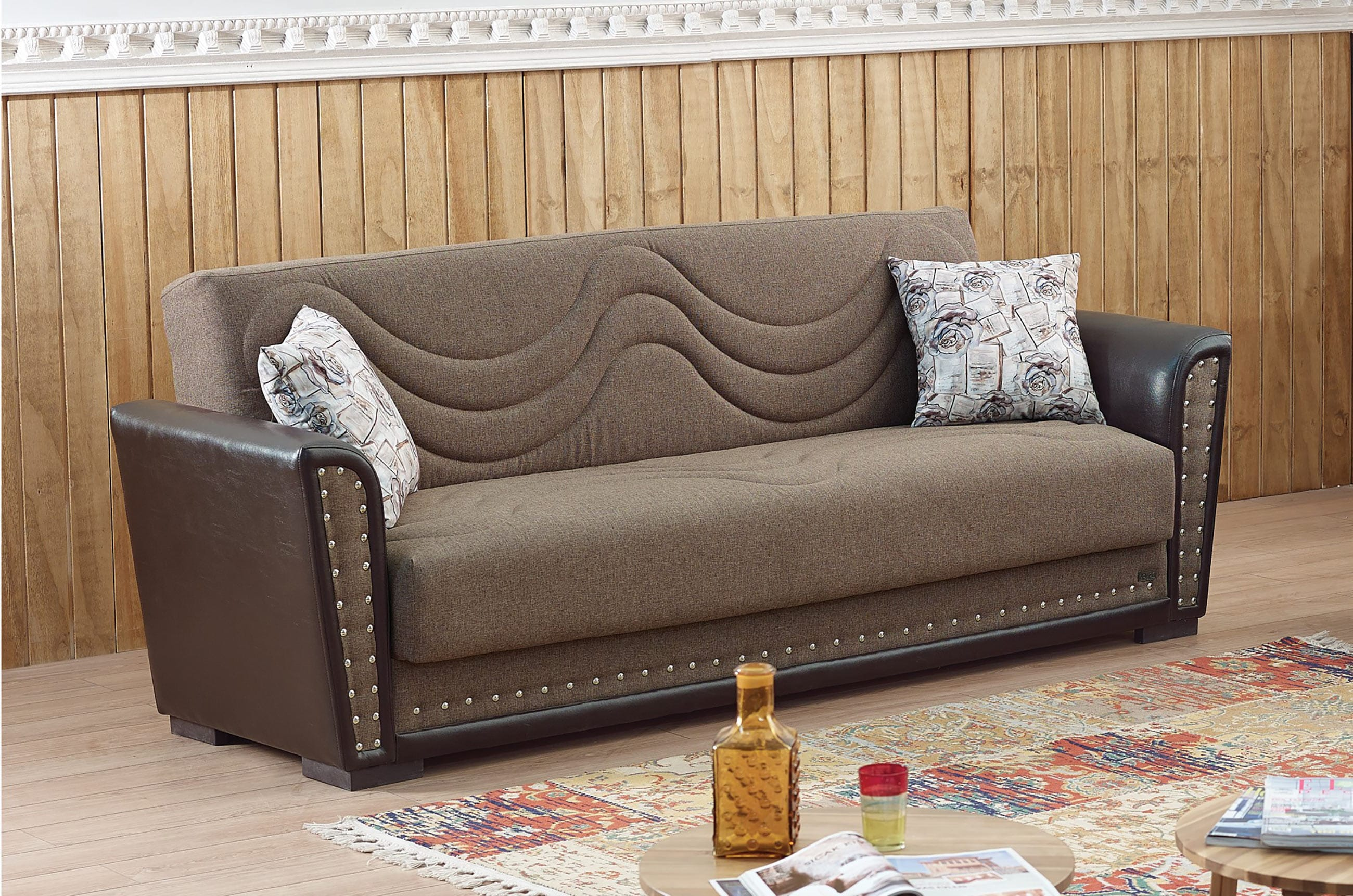 Toronto Brown Fabric Sofa Bed by Empire Furniture USA
