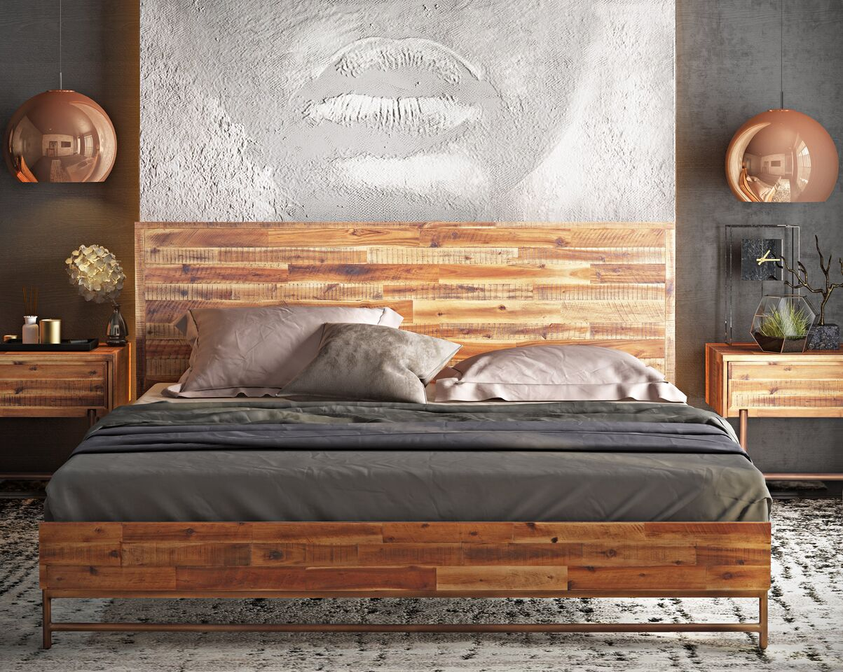 Bushwick Brown Wooden King Bed By Tov Furniture