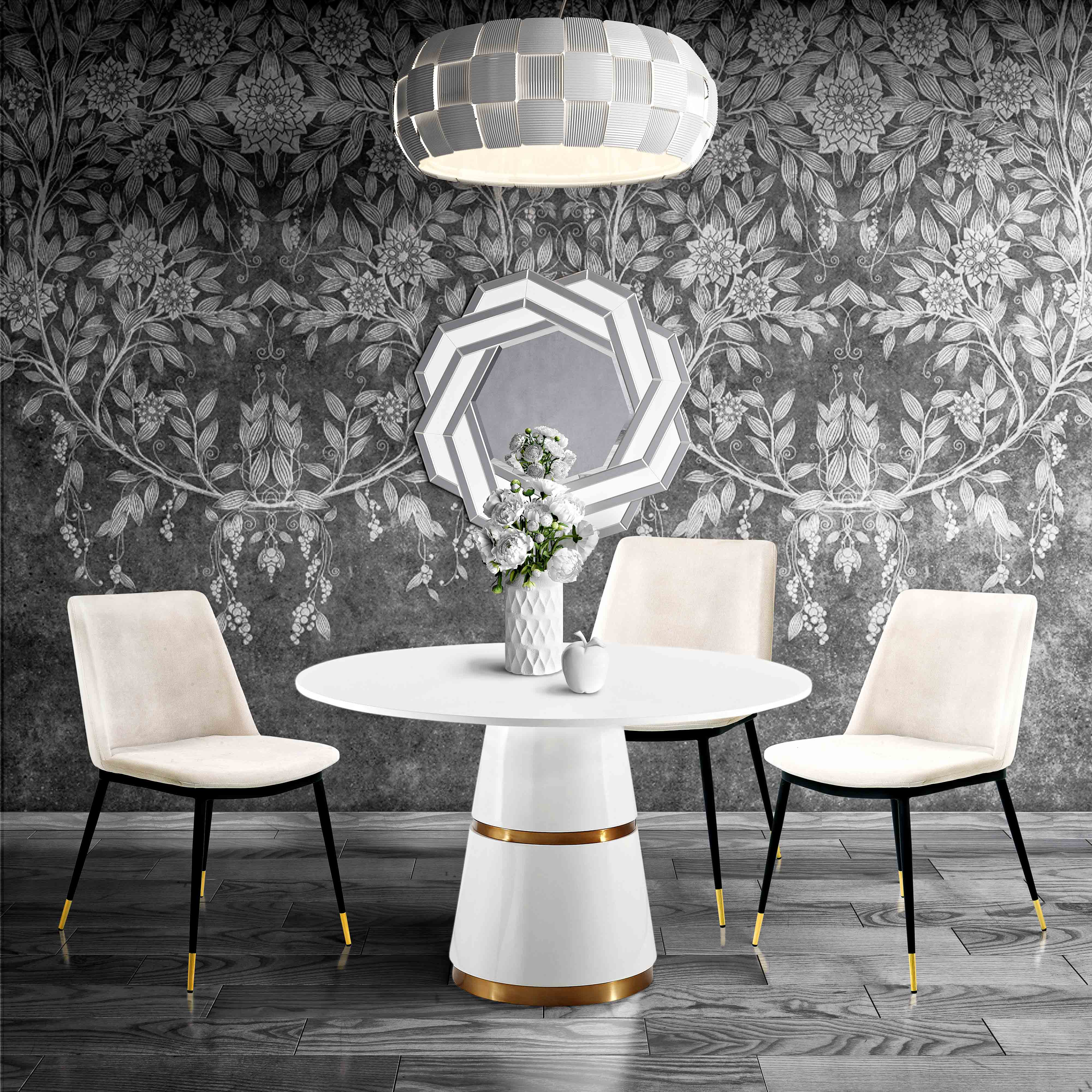 Picture of: Evora Cream Velvet Chair W Gold Legs Set Of 2 By Tov Furniture