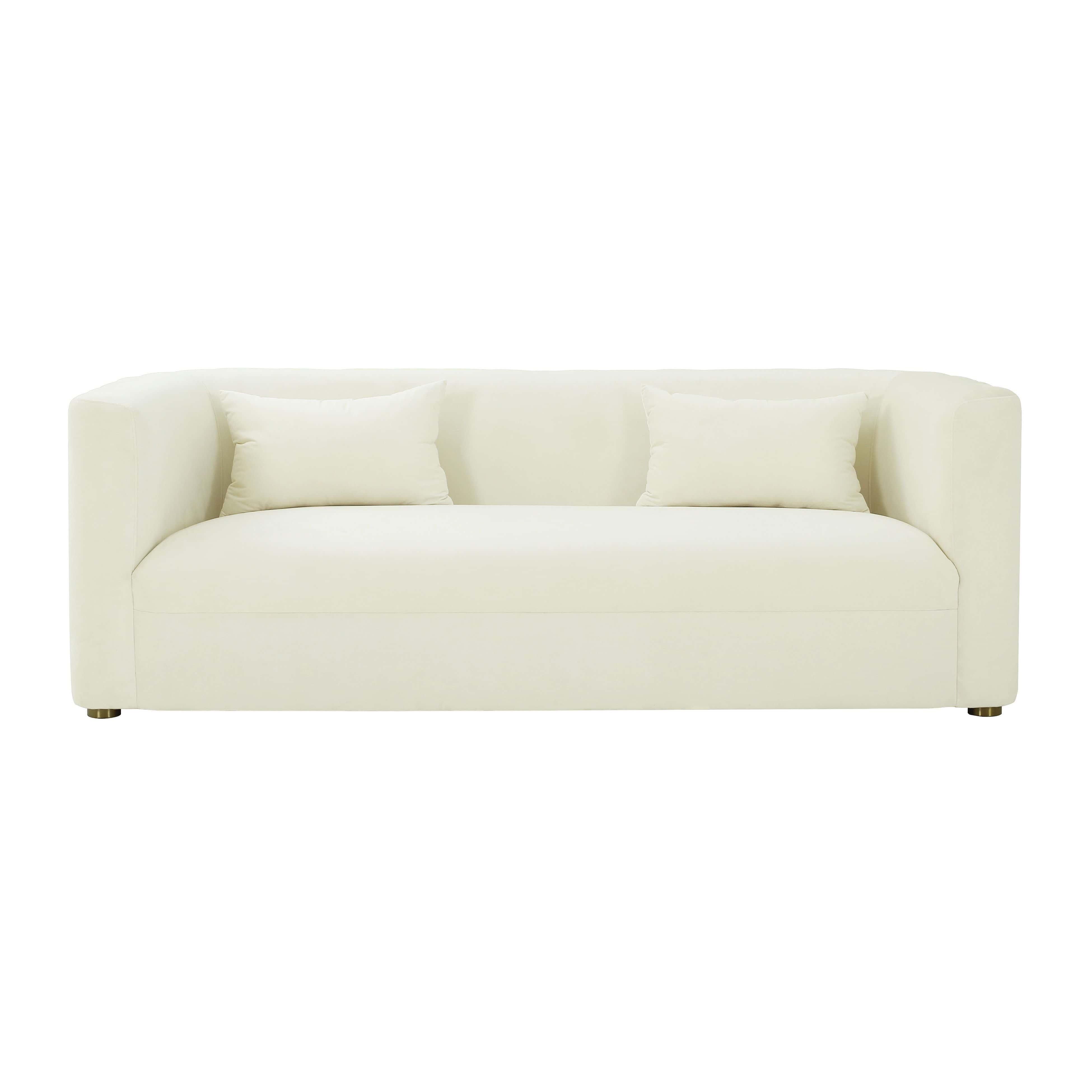 Callie Cream Velvet Sofa By Tov Furniture