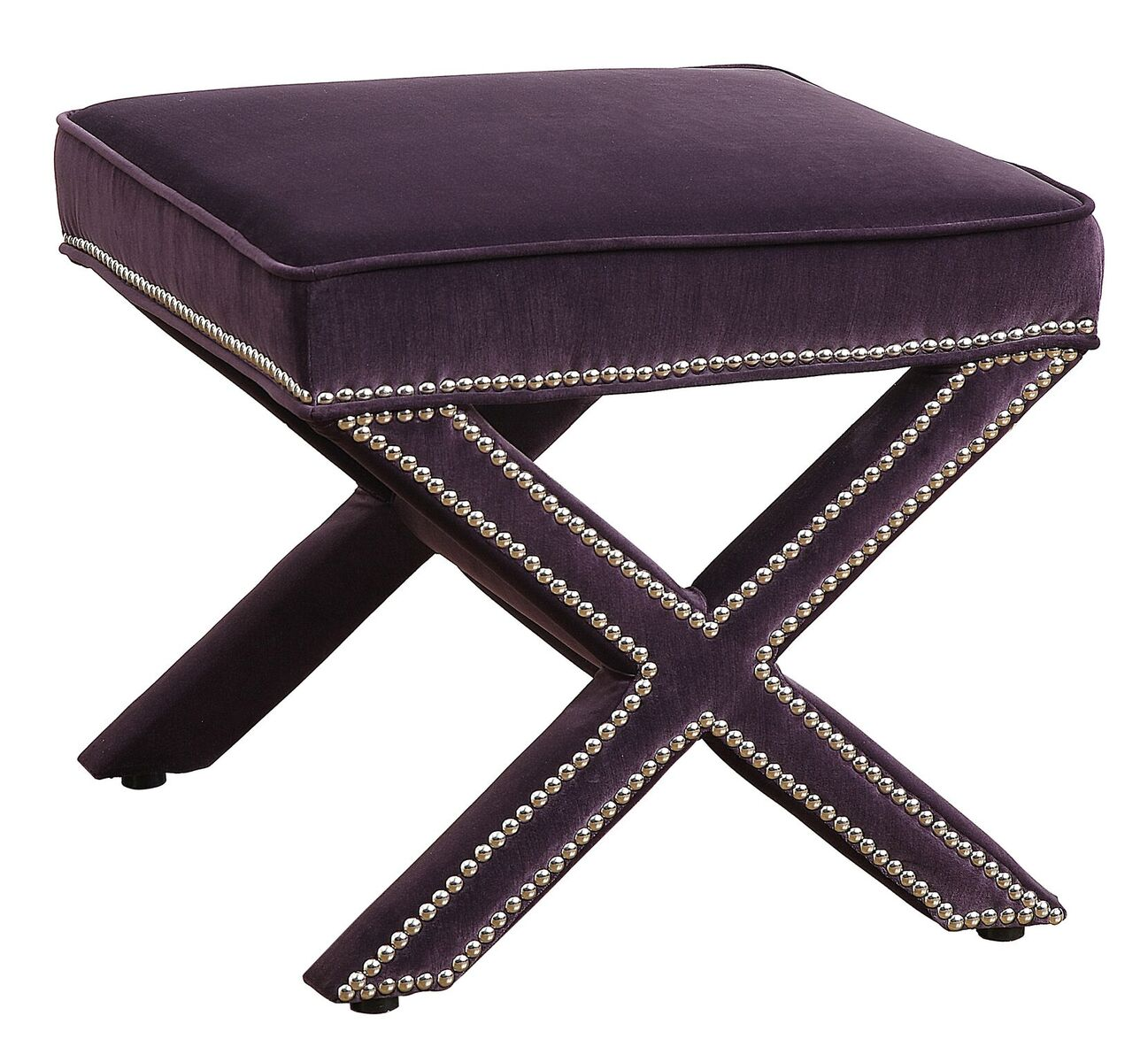 Enjoyable Reese Purple Velvet Ottoman By Tov Furniture Dailytribune Chair Design For Home Dailytribuneorg
