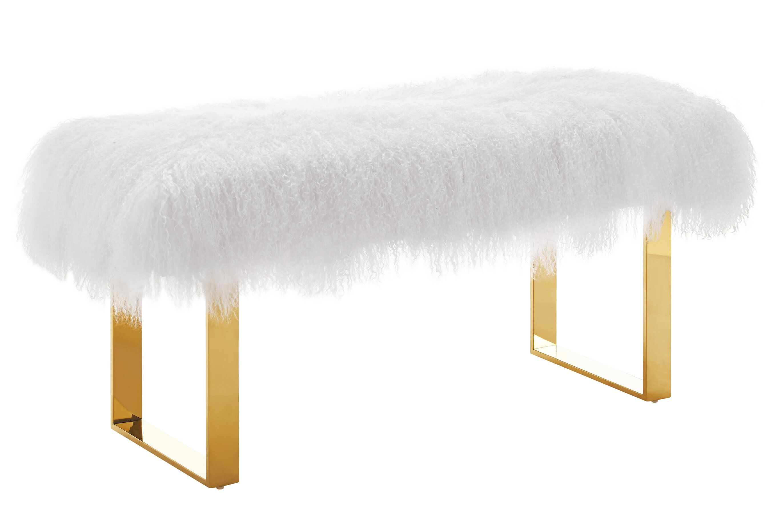 Swell Sherpa White Fur Bench W Gold Legs By Tov Furniture Squirreltailoven Fun Painted Chair Ideas Images Squirreltailovenorg