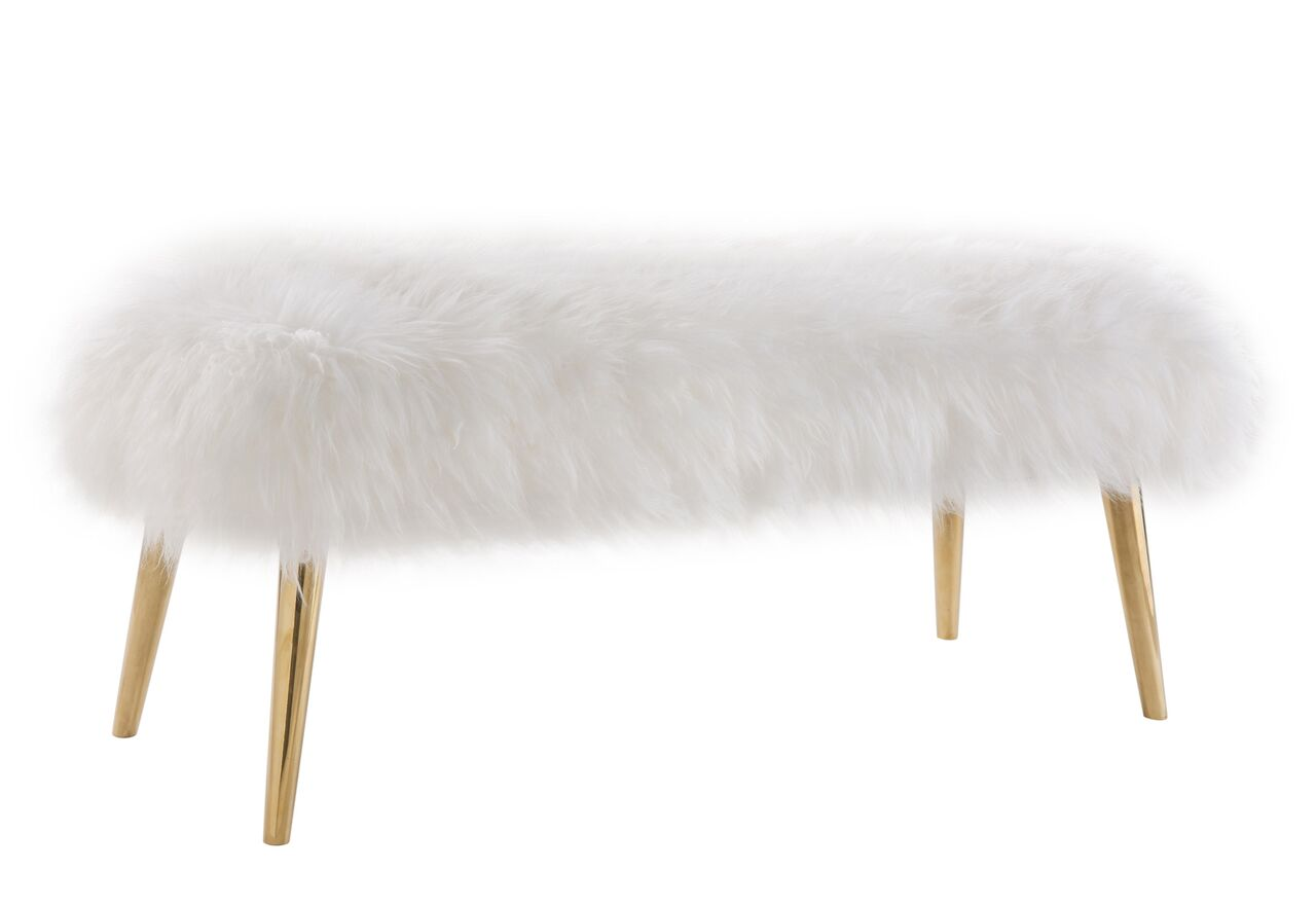 Fine Churra White Fur Bench W Gold Legs By Tov Furniture Squirreltailoven Fun Painted Chair Ideas Images Squirreltailovenorg