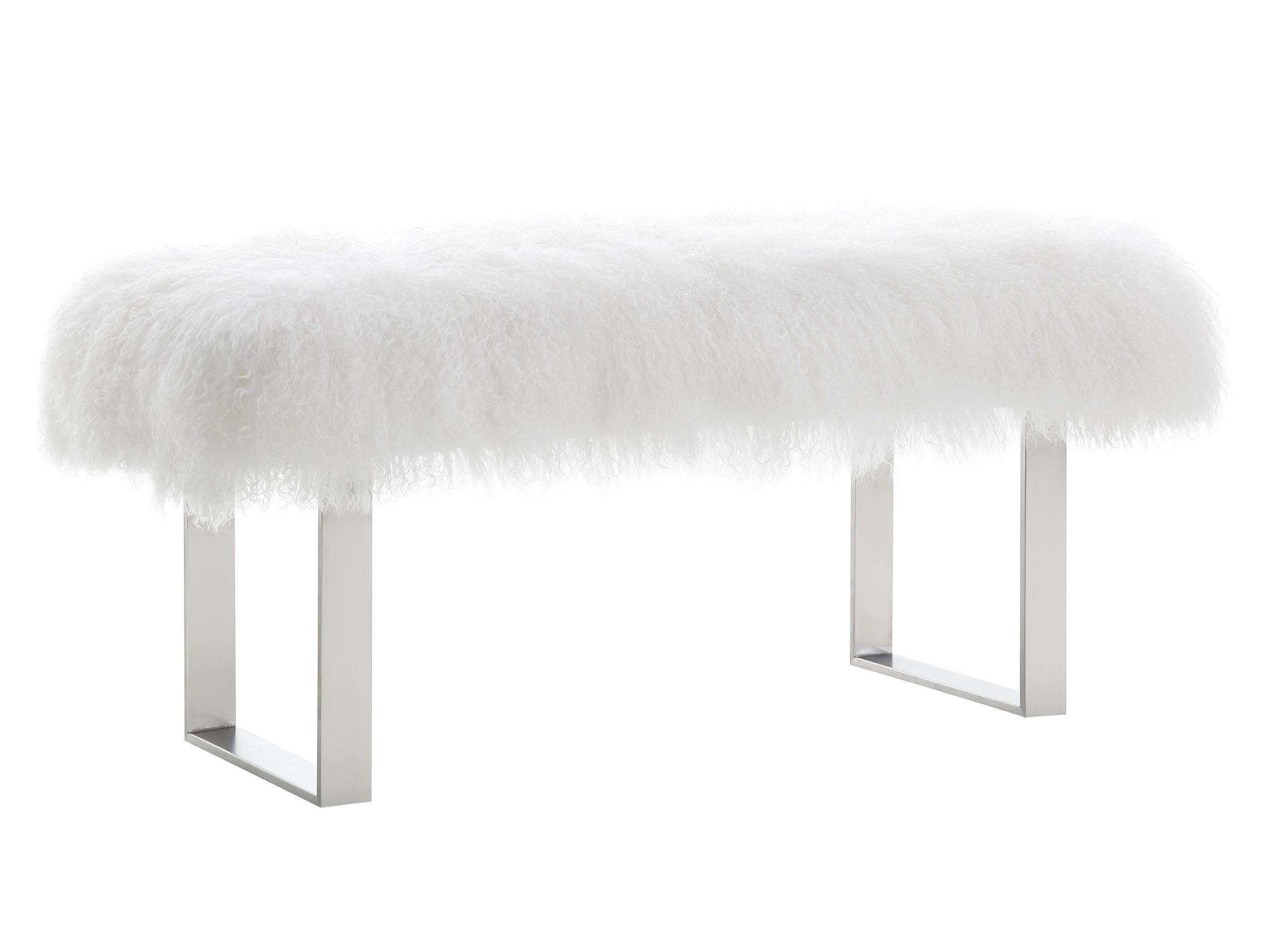Strange Sherpa White Fur Bench W Silver Base By Tov Furniture Squirreltailoven Fun Painted Chair Ideas Images Squirreltailovenorg