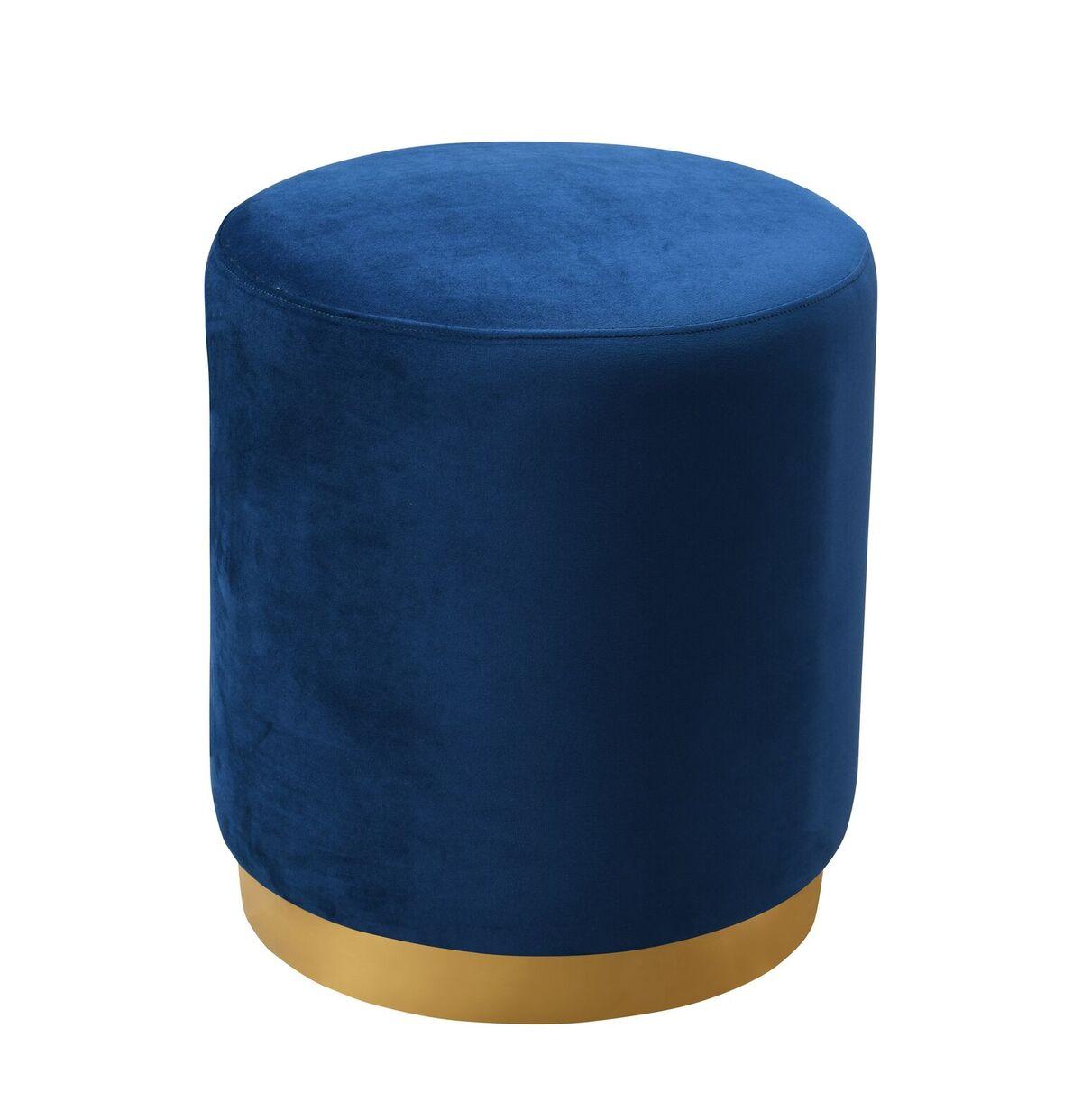 Opal Navy Blue Velvet Ottoman W Gold Base By Tov Furniture