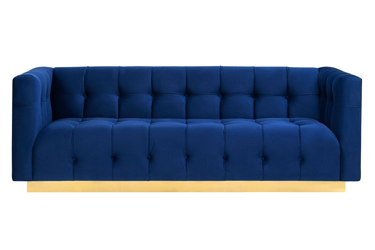 Picture of: Roma Navy Blue Velvet Sofa By Tov Furniture