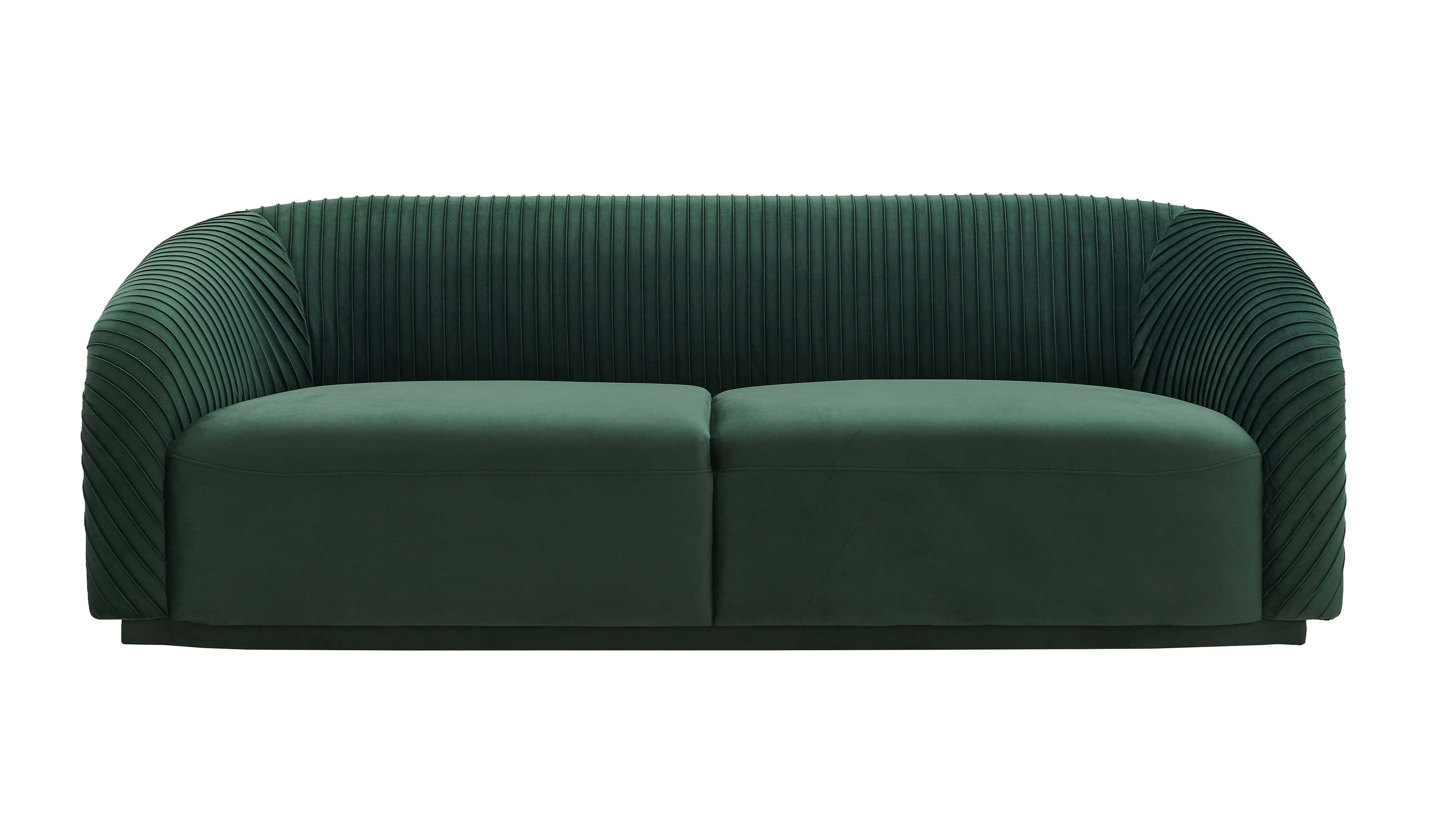 Yara Pleated Forest Green Velvet Sofa By Tov Furniture