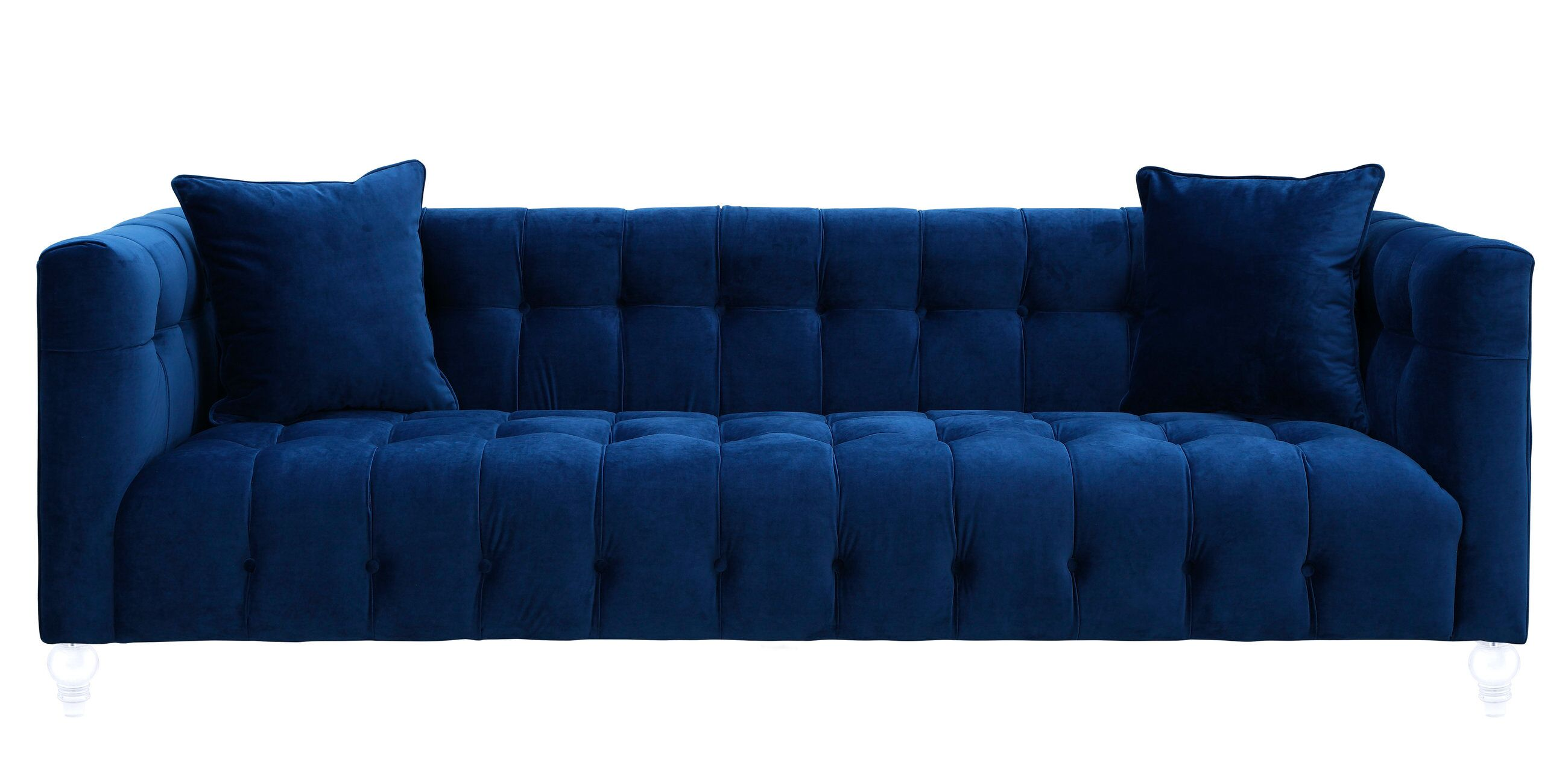 Bea Navy Blue Velvet Sofa by TOV Furniture