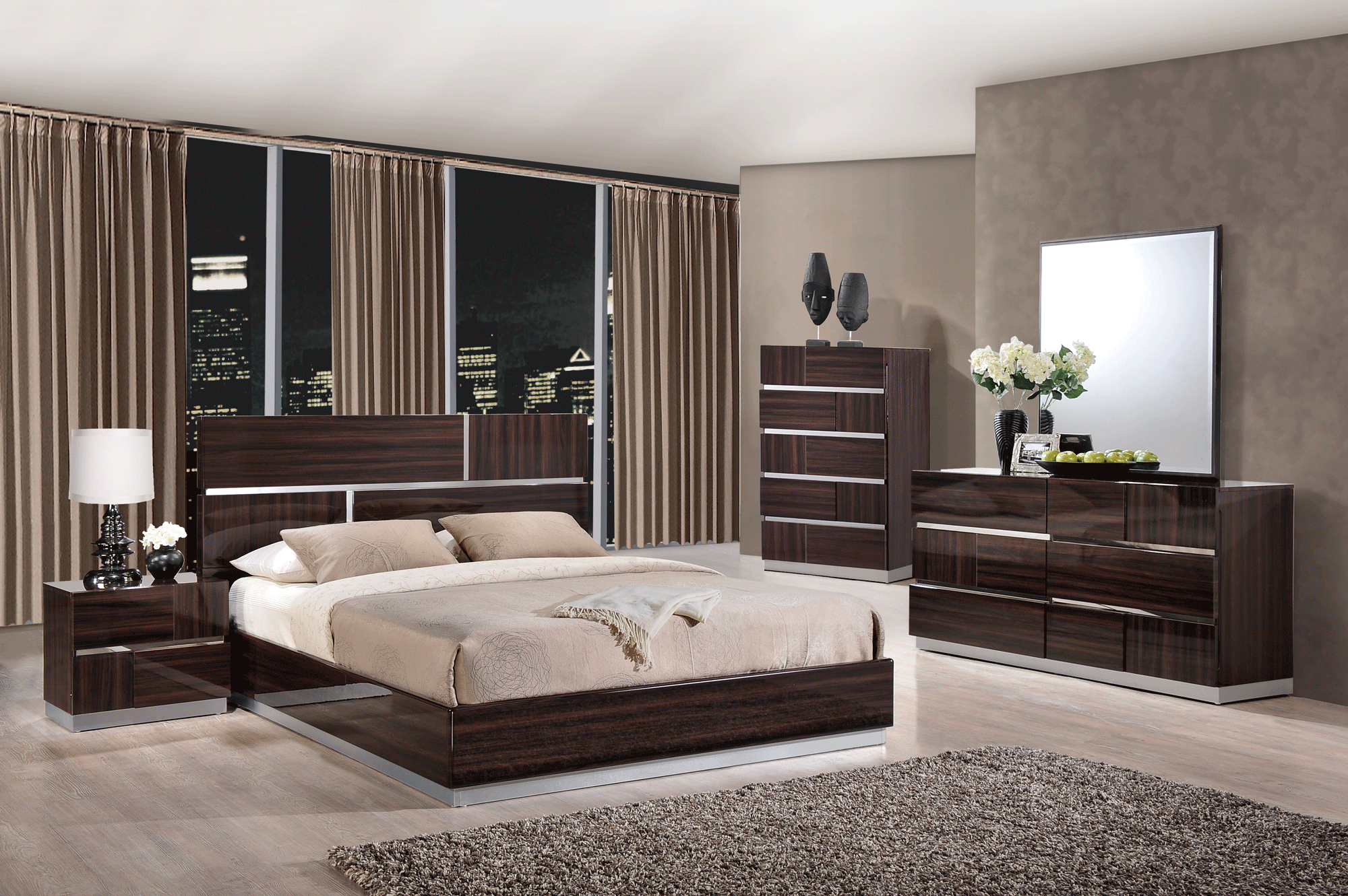 Tribeca Wood Grain Glossy Bedroom Set by Global Furniture