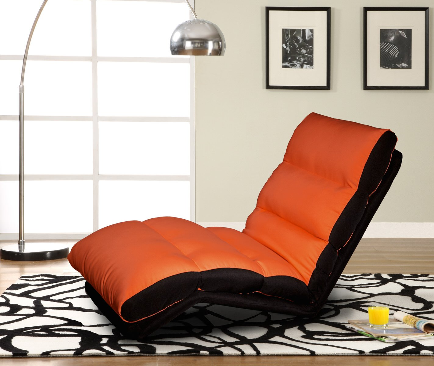 turbo lounger convertible chair bed orange by serta