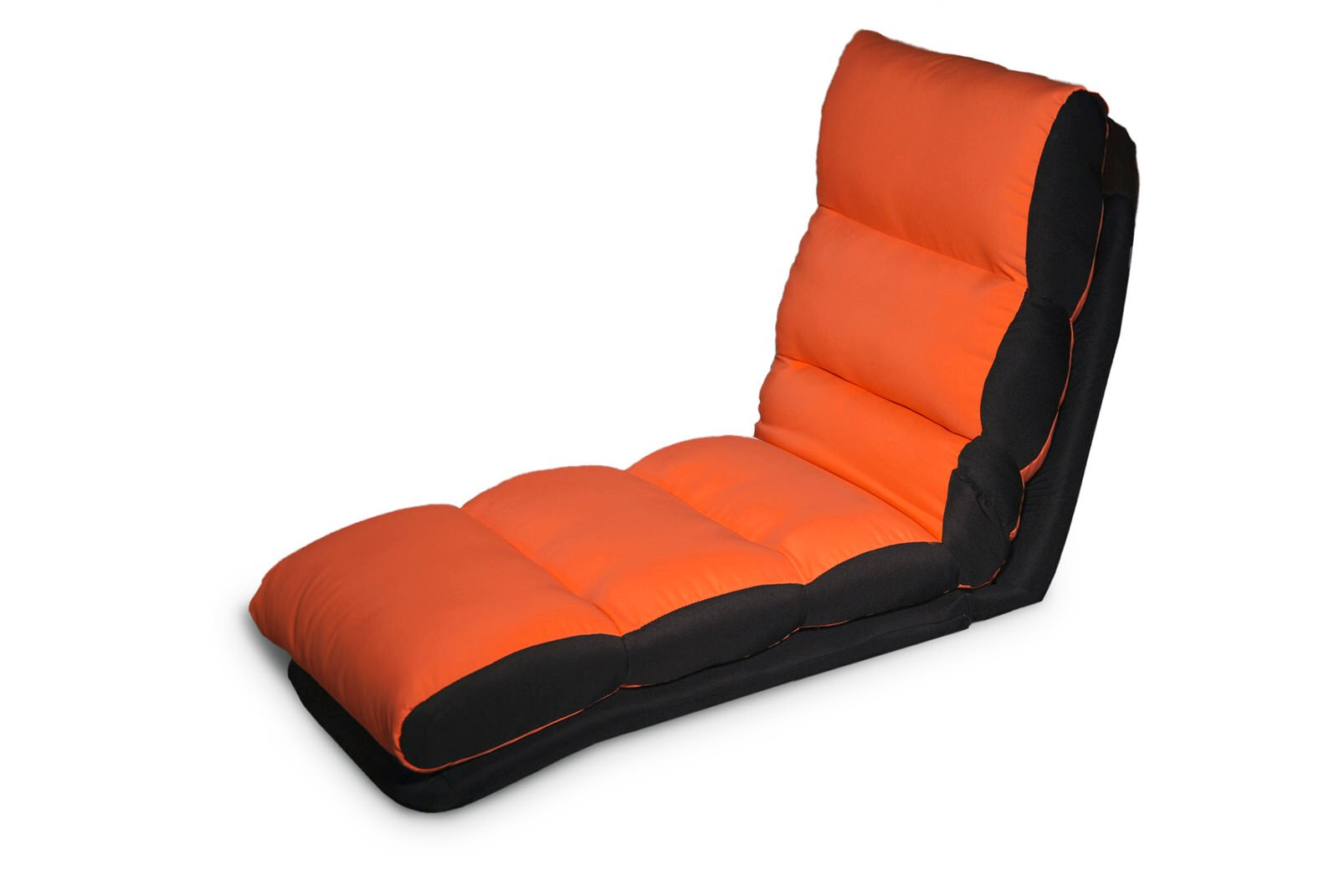 Turbo lounger convertible chair bed orange by serta for Chaise lounge convertible bed