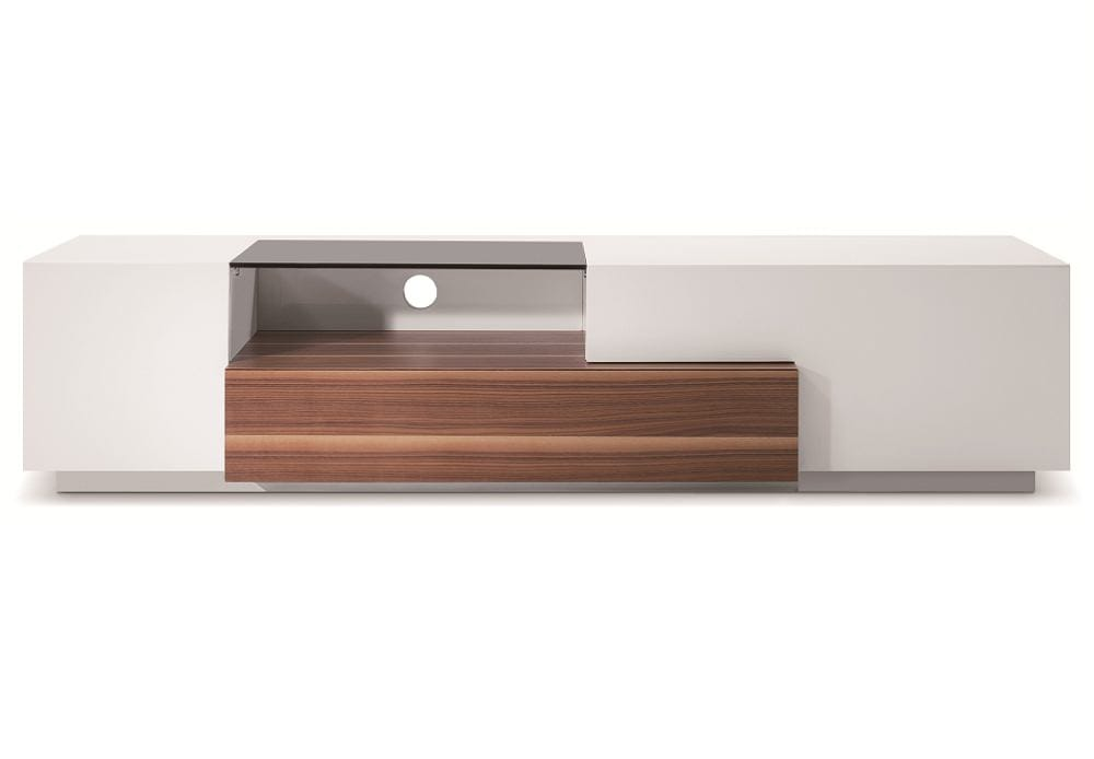 modern tv015 in white lacquer walnut by j m furniture
