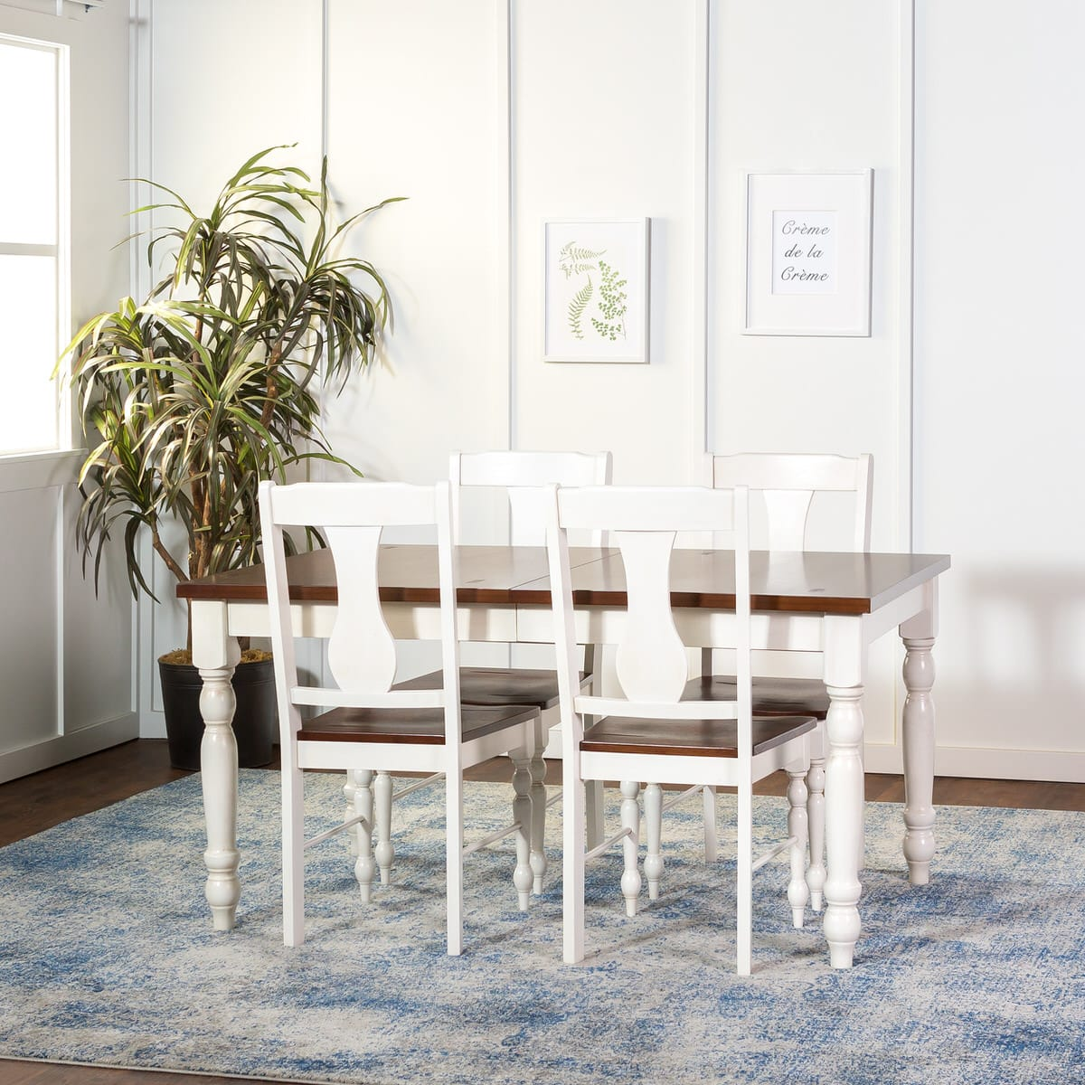 turned leg dining table. 60 Inch Solid Wood Turned Leg Dining Table - Brown/White By Walker Edison