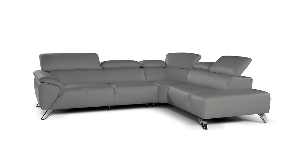 Tesla Premium Italian Leather Sectional Sofa Gray by J&M Furniture