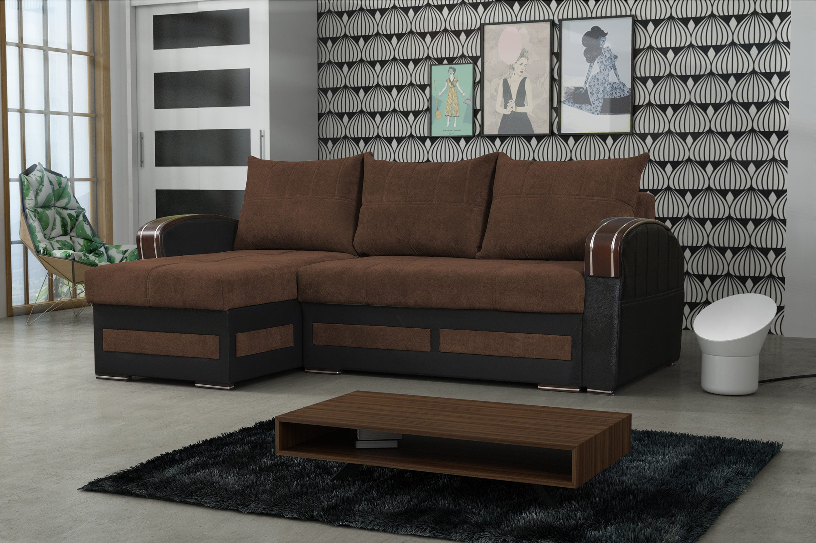 Tommy Brown Sectional Sofa Sleeper by Skyler Designs