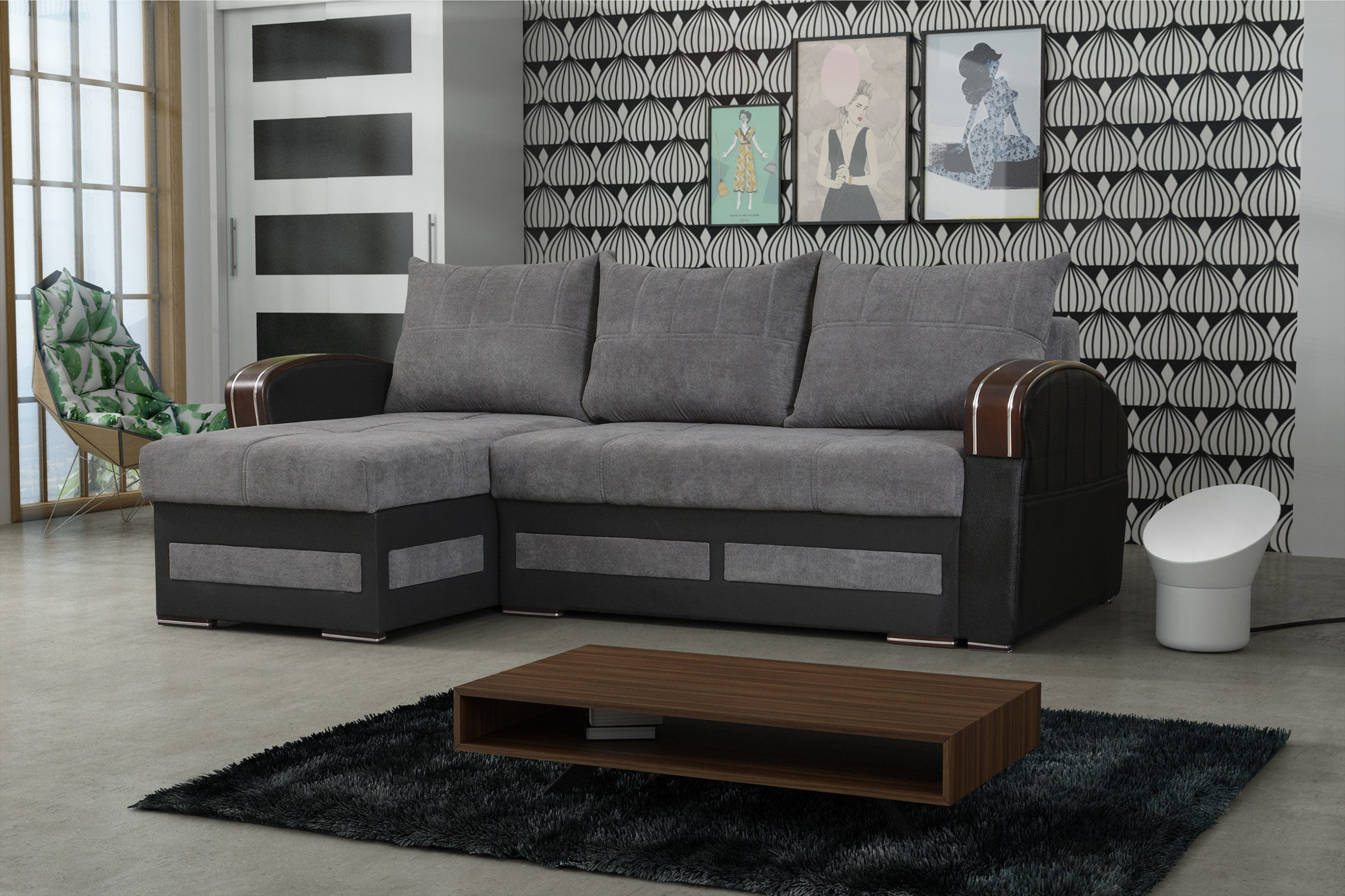 Super Tommy Gray Sectional Sofa Sleeper By Skyler Designs Gmtry Best Dining Table And Chair Ideas Images Gmtryco