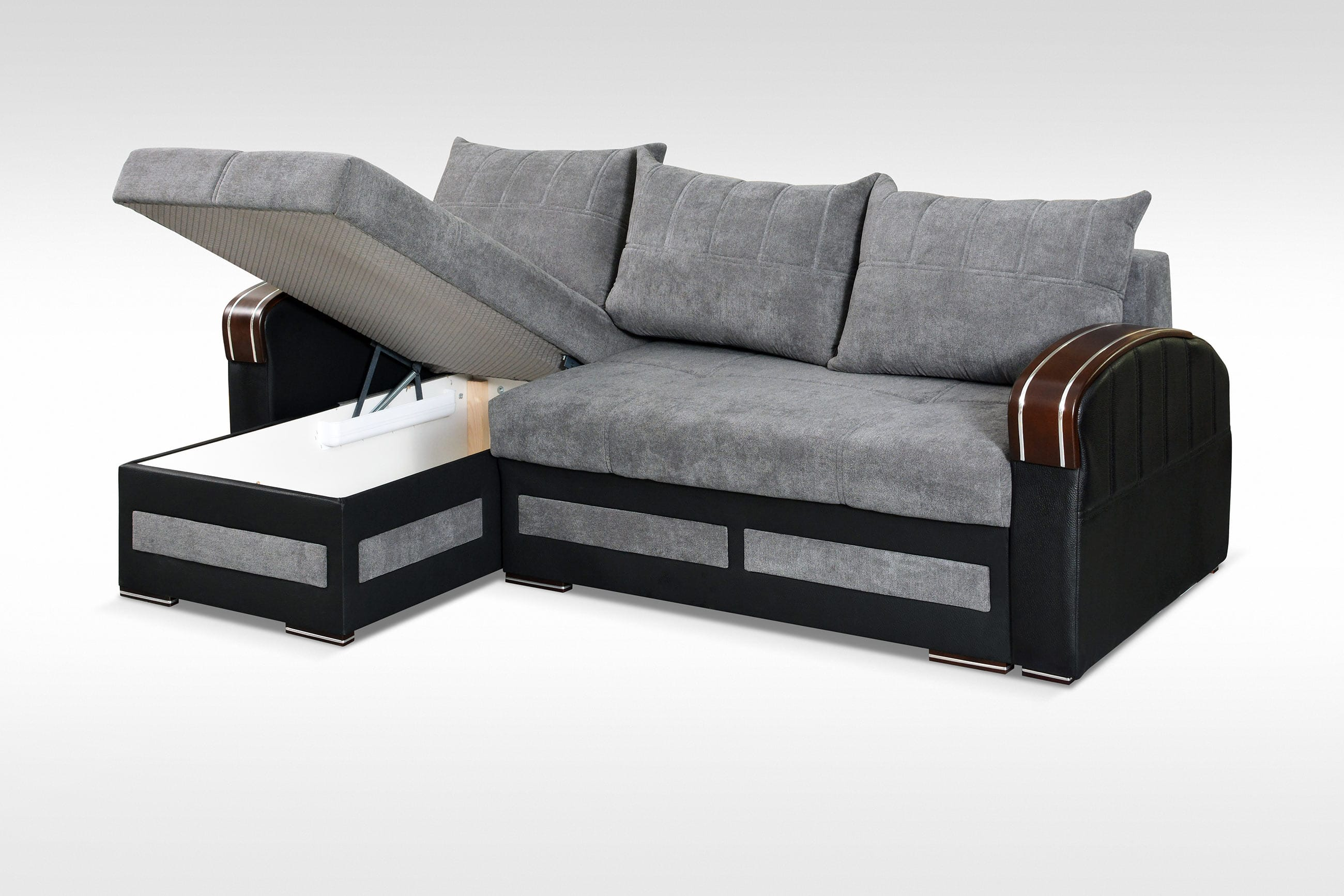 Tommy Gray Sectional Sofa Sleeper by Skyler Designs