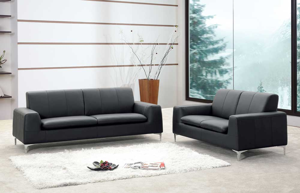 Tribeca Leather Black Sofa by J&M Furniture