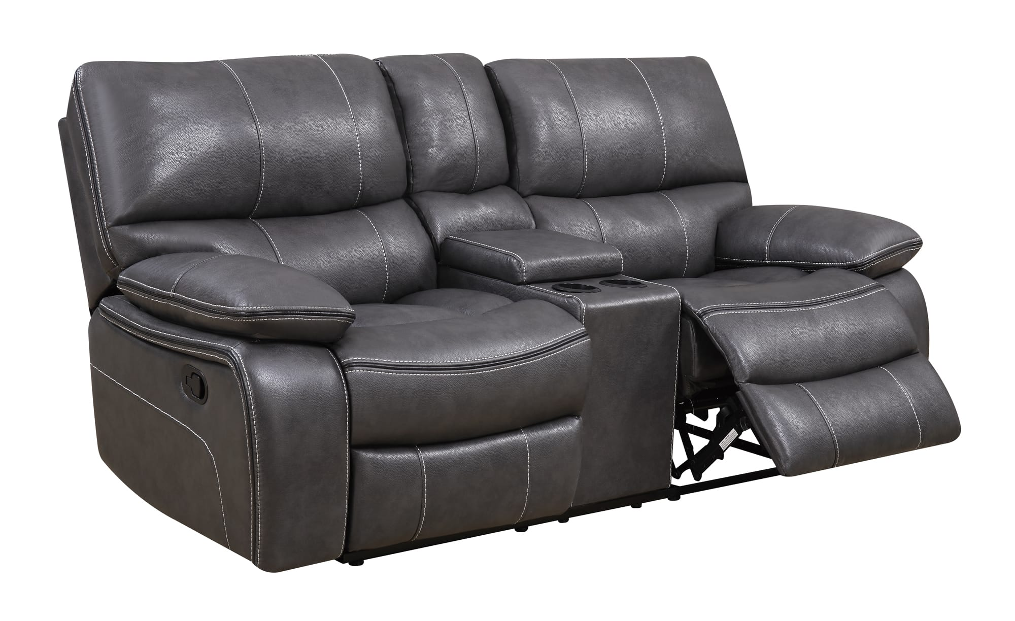 U0040 grey black leather console reclining loveseat by global furniture Leather reclining loveseat