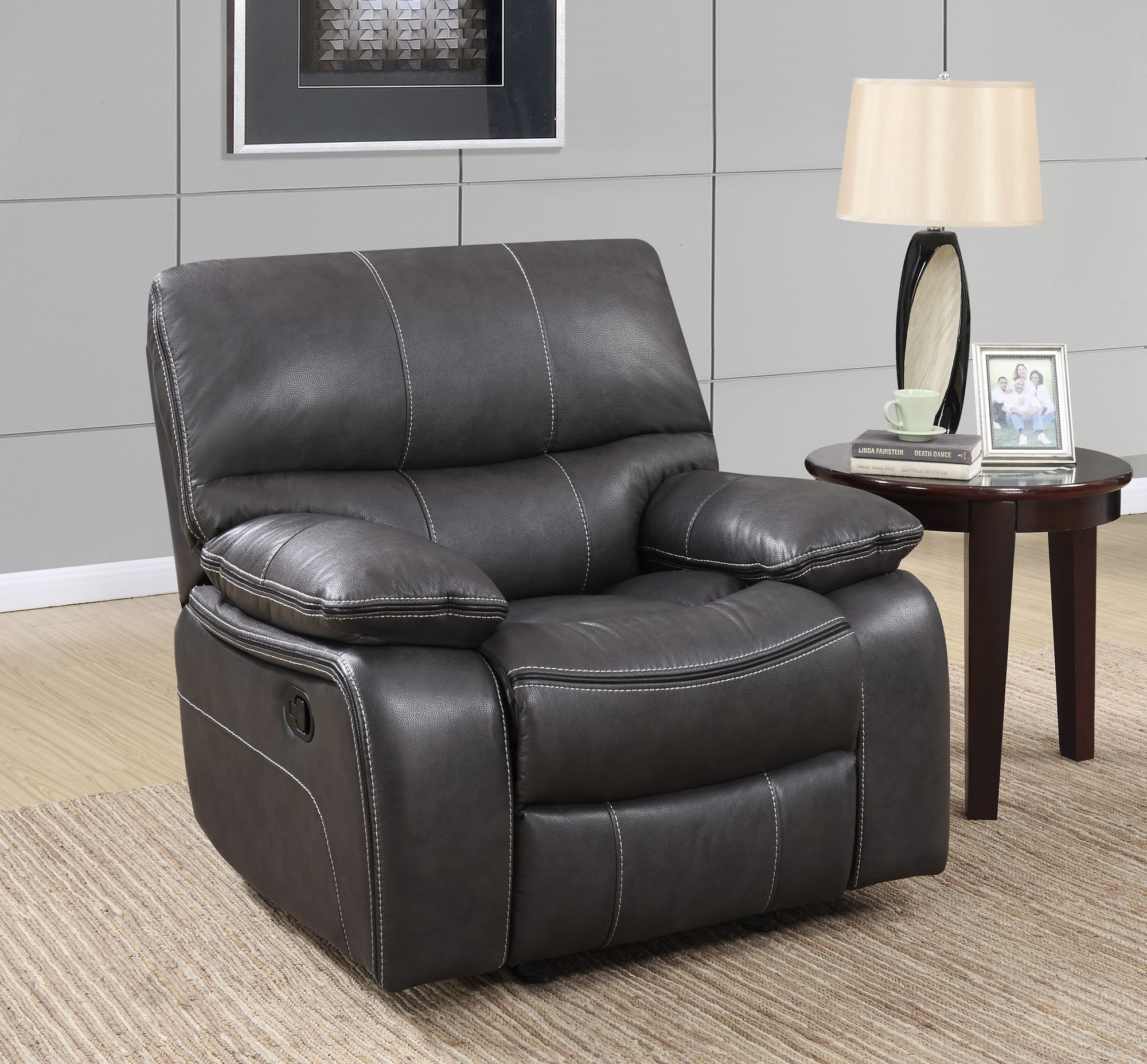 U0040 Grey Black Leather Glider Reclining Chair by Global Furniture