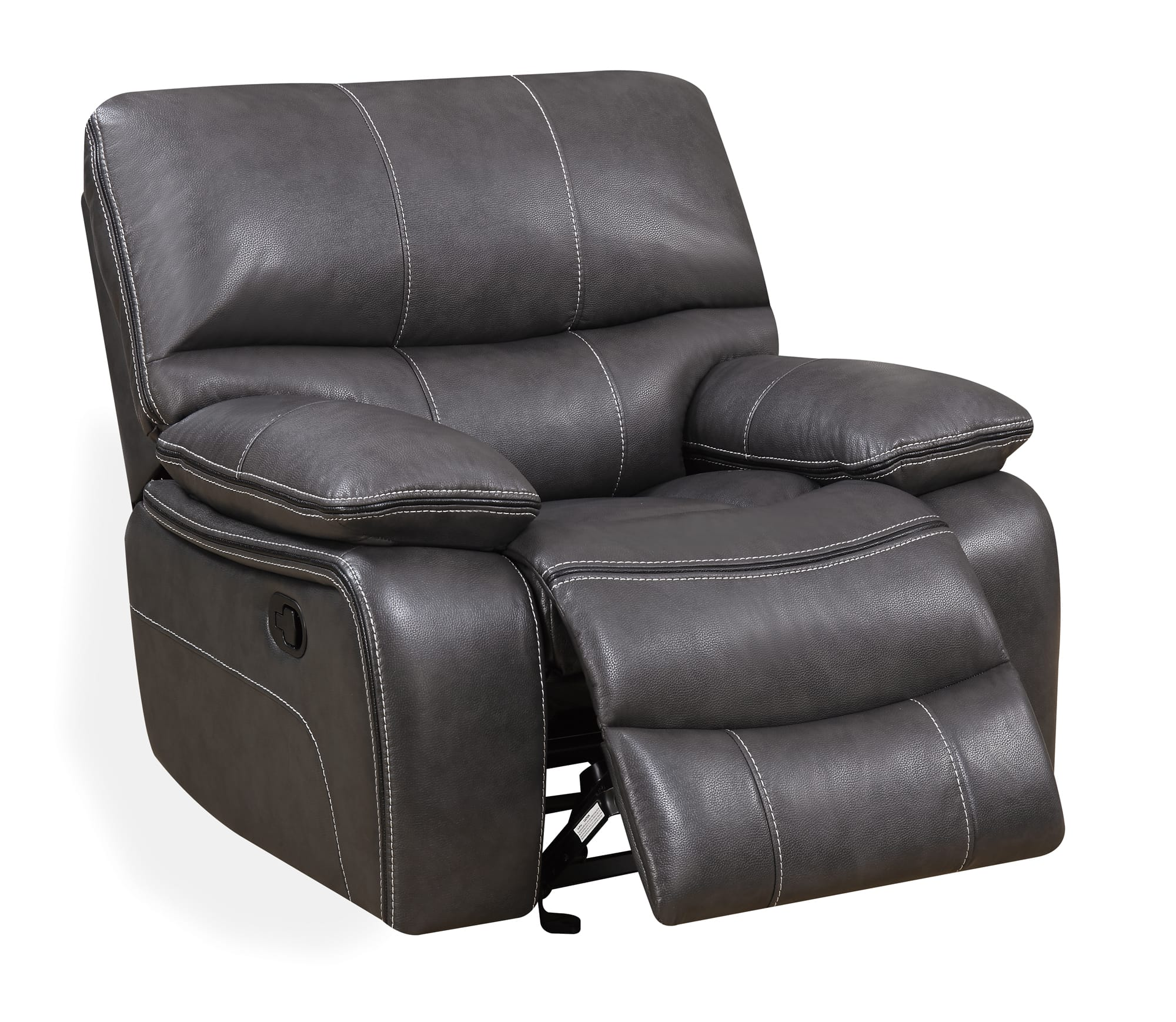 U0040 GreyBlack Leather Glider Reclining Chair By Global