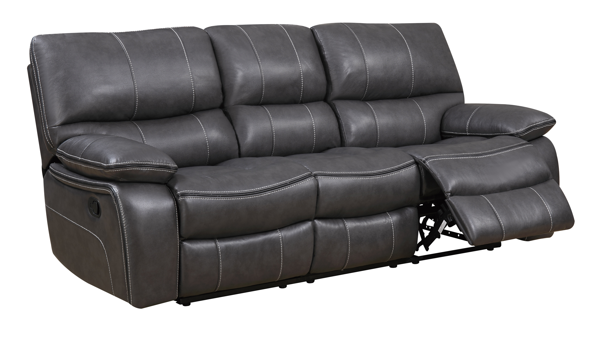 U0040 grey black leather air reclining sofa by global for Black and grey sofa