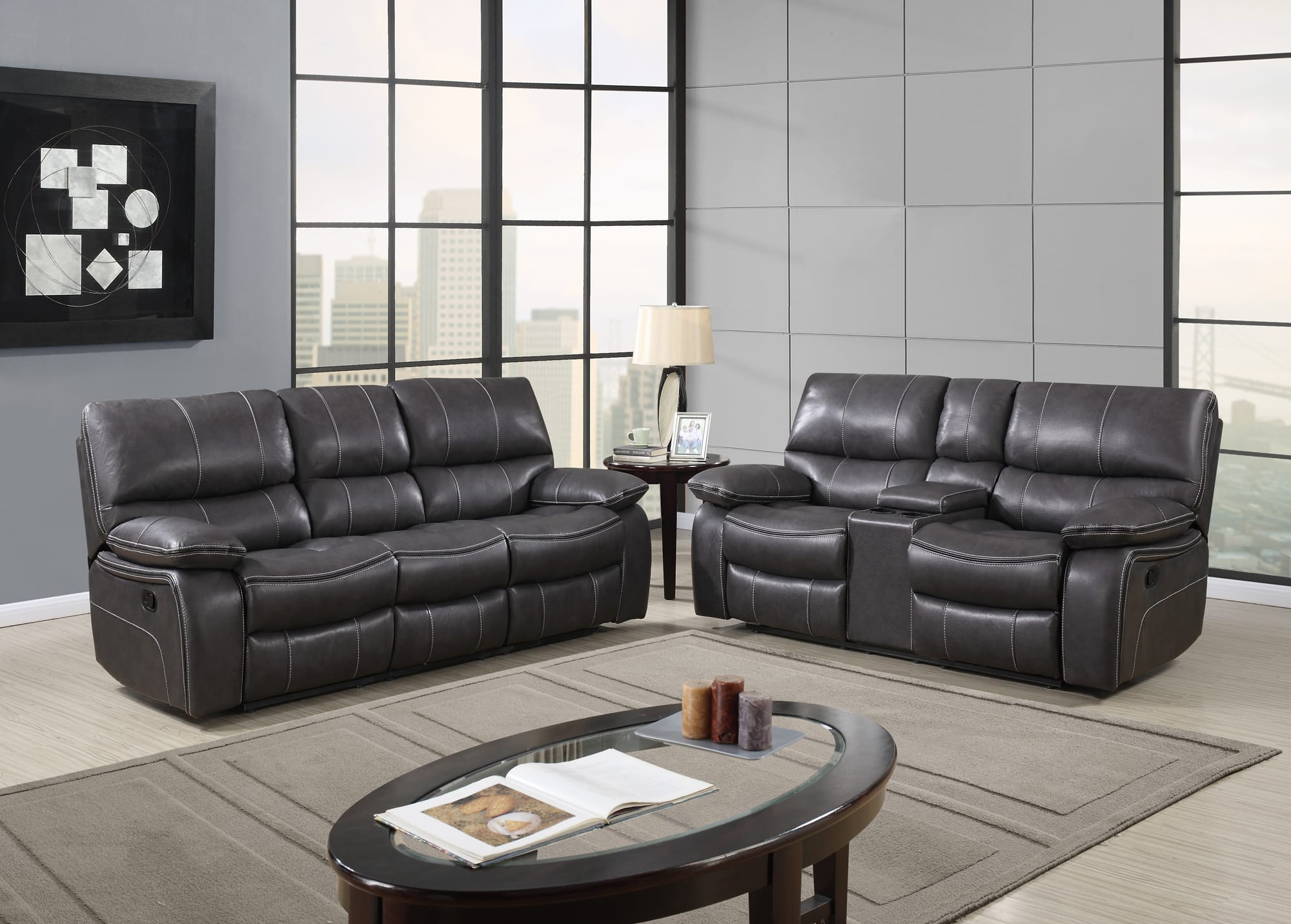 U0040 Grey Black Leather Air Reclining Sofa By Global