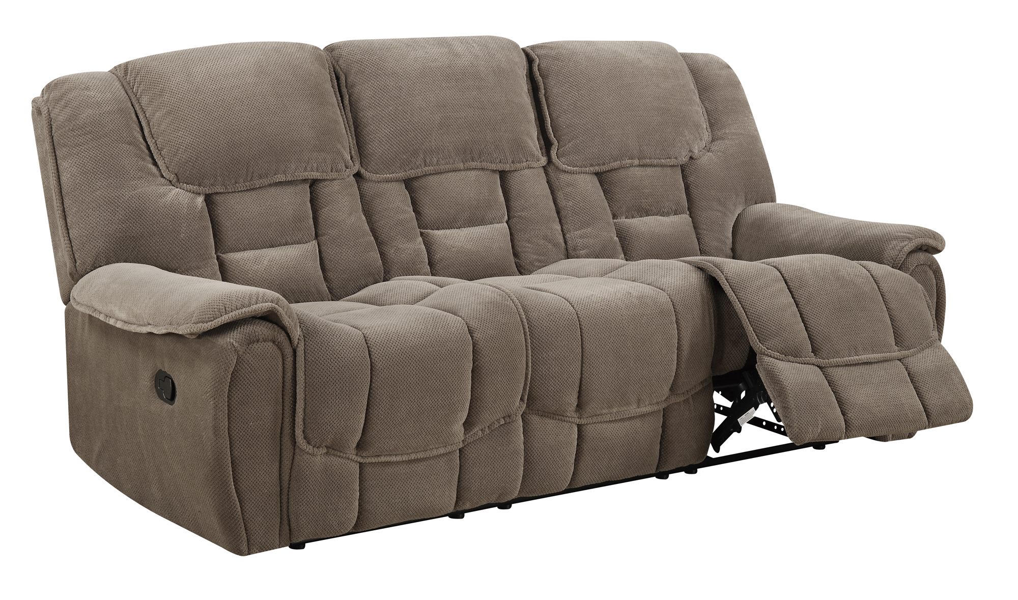 u101 taupe fabric reclining sofa by global furniture. Black Bedroom Furniture Sets. Home Design Ideas