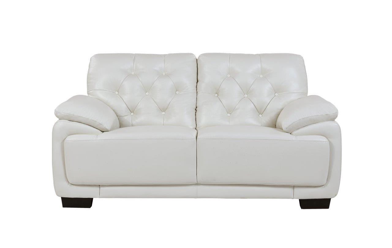 Terrific U1066 Pluto White Leather Loveseat By Global Furniture Inzonedesignstudio Interior Chair Design Inzonedesignstudiocom