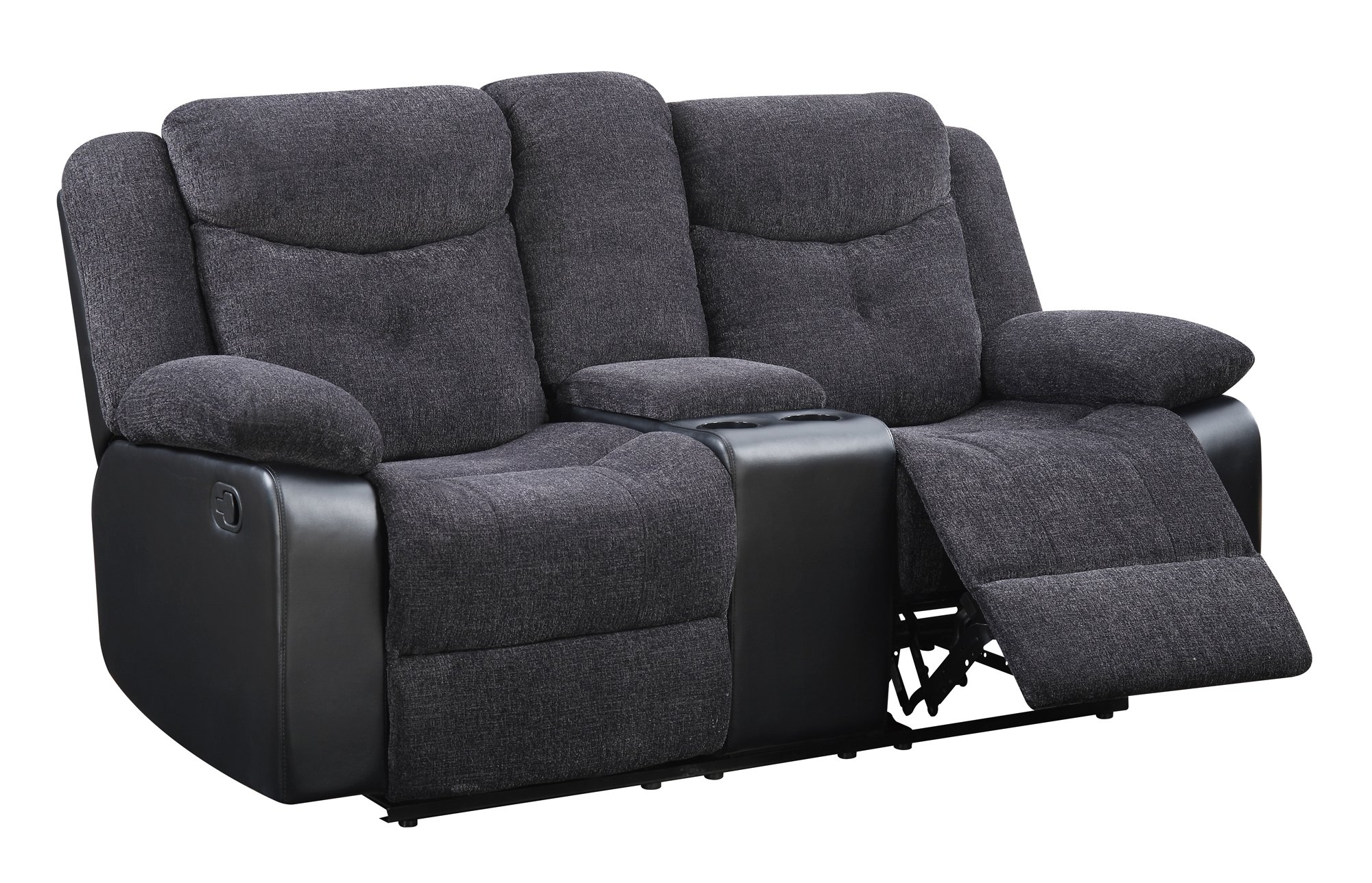U1566 Mouse Fabric Console Reclining Loveseat By Global Furniture