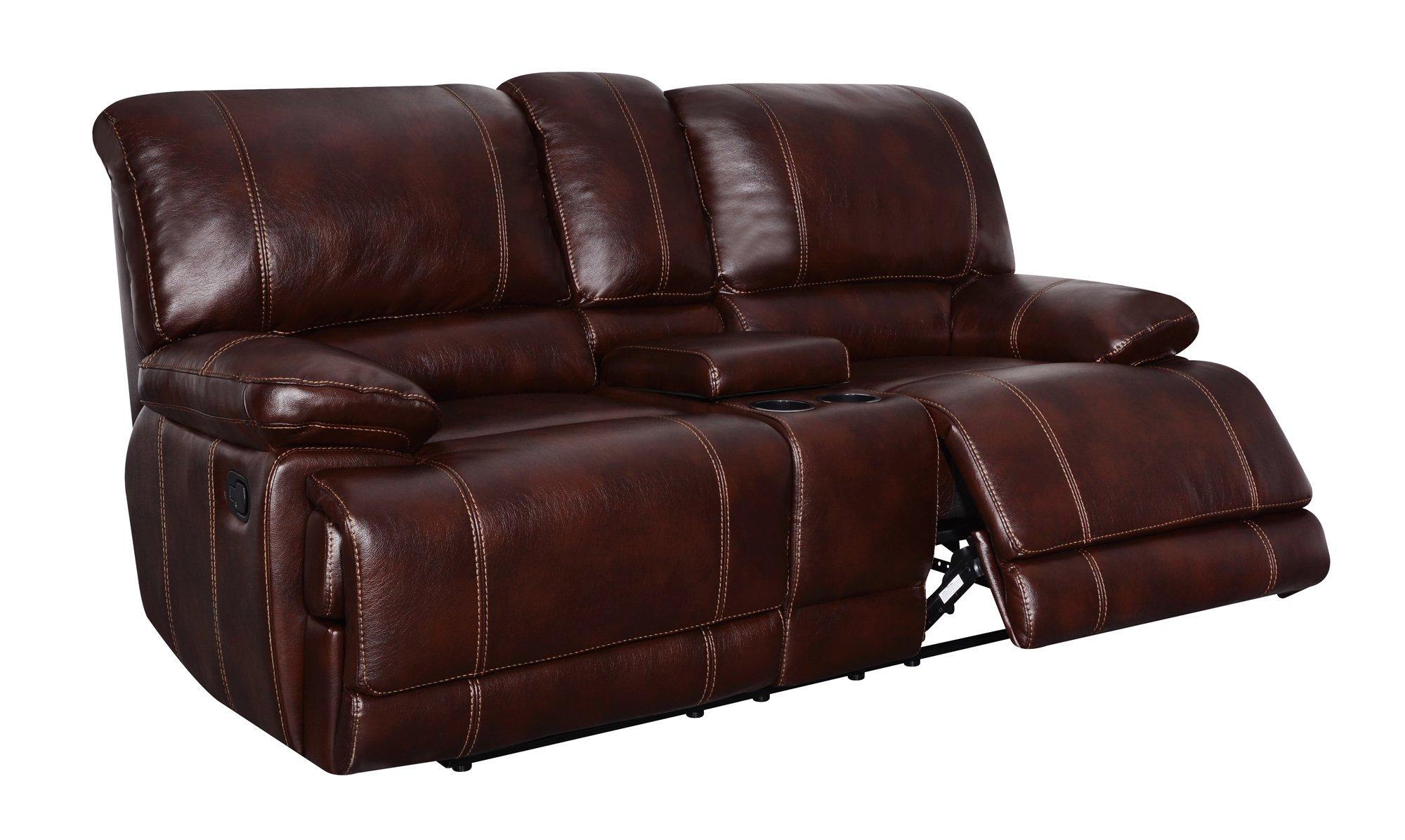 u1953 coffee leather gel console reclining loveseat by