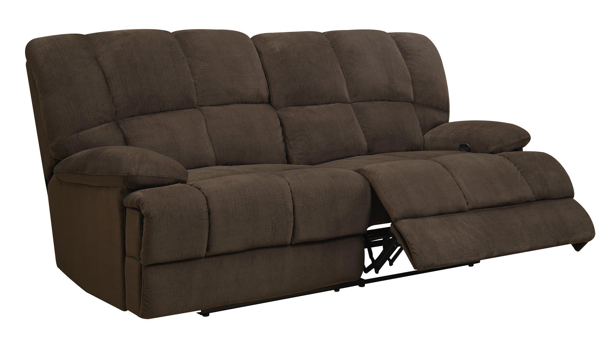 U201 Chocolate Fabric Reclining Sofa by Global Furniture