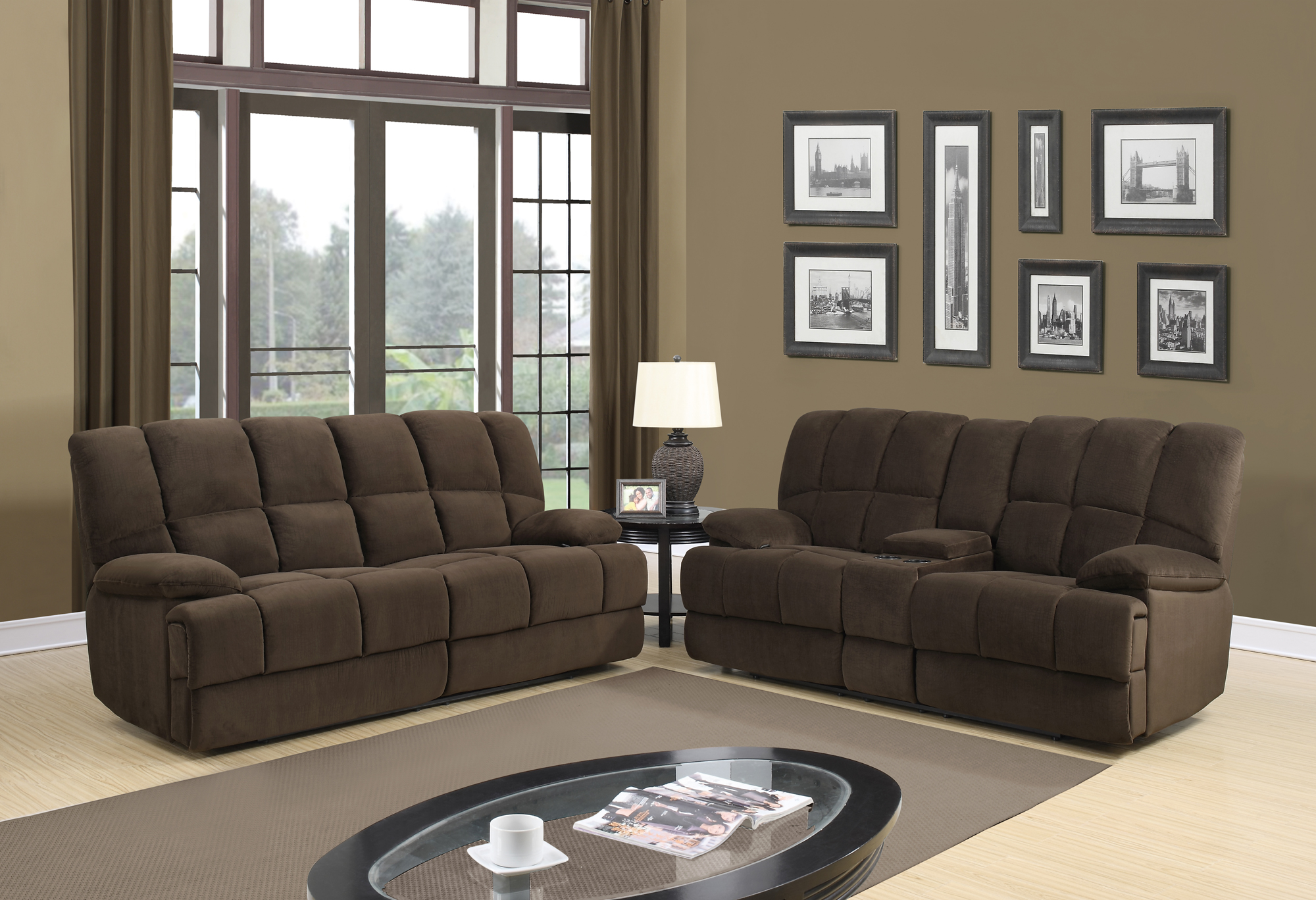 U201 Chocolate Fabric Reclining Sofa by Global Furniture