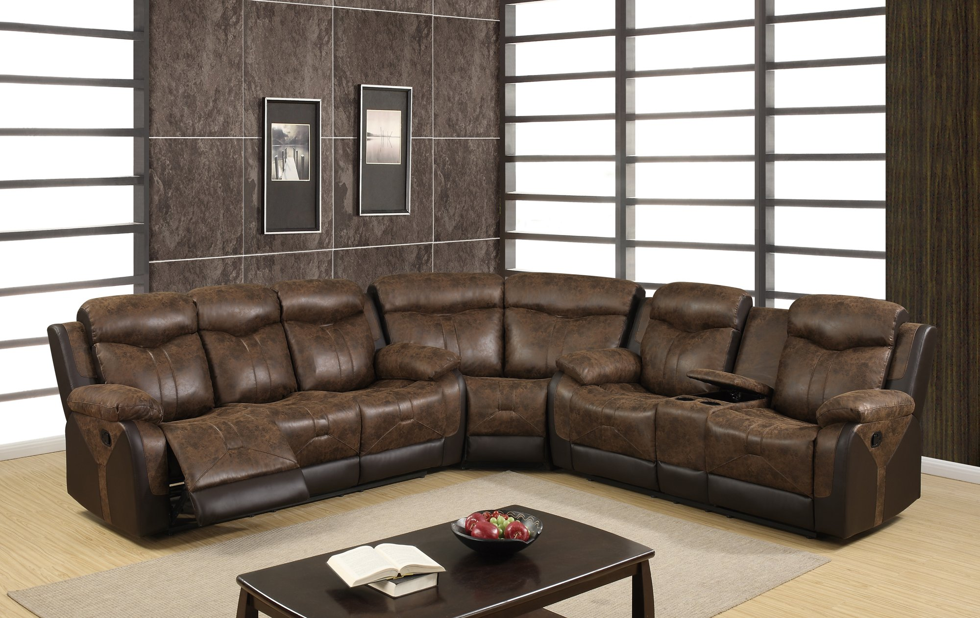 U2015 chocolate vinyl sectional sofa by global furniture for Sectional sofa names