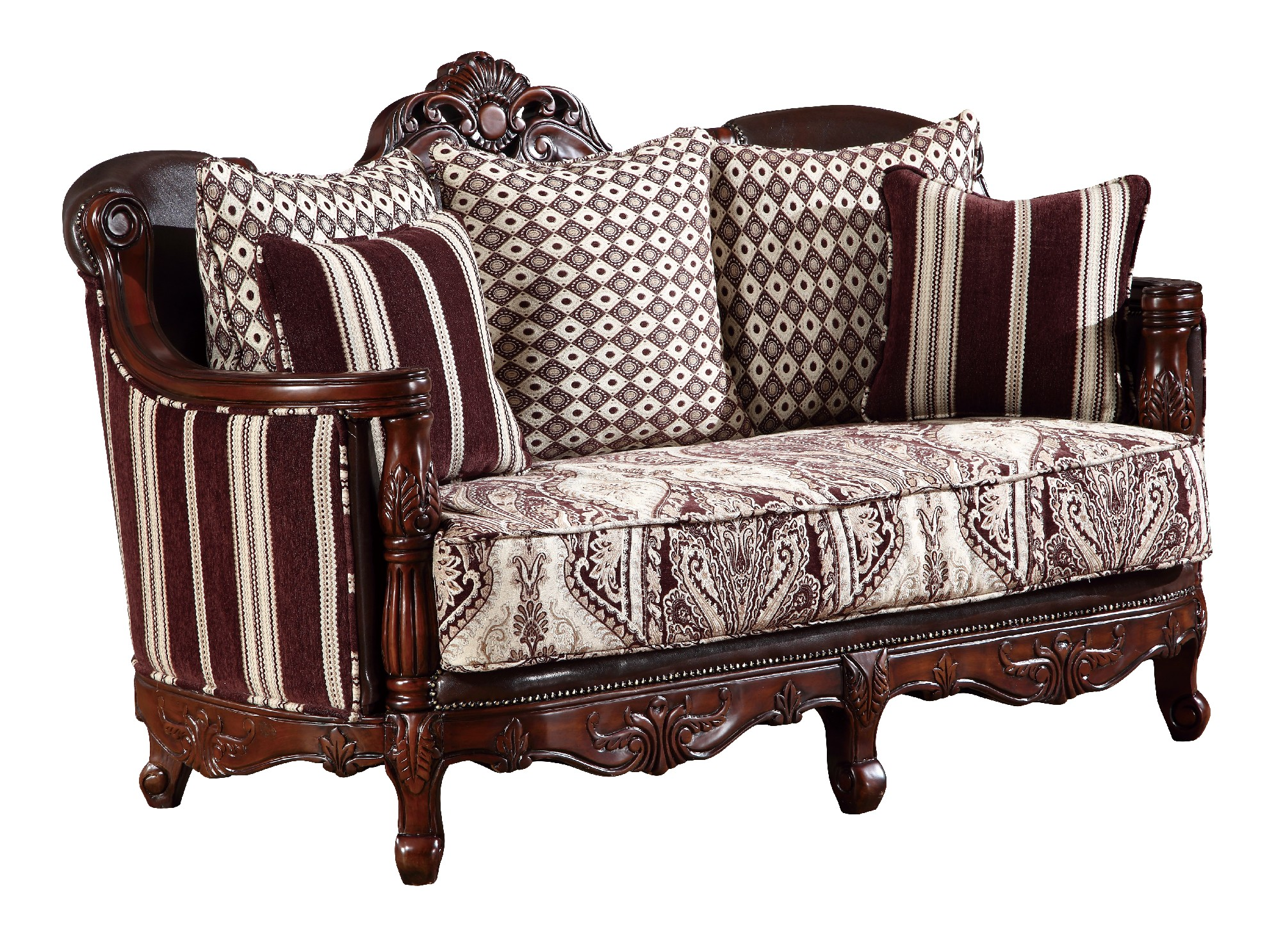 Marvelous photograph of U2394 Brown Fabric Solid Wood Loveseat by Global Furniture with #341A18 color and 2000x1487 pixels