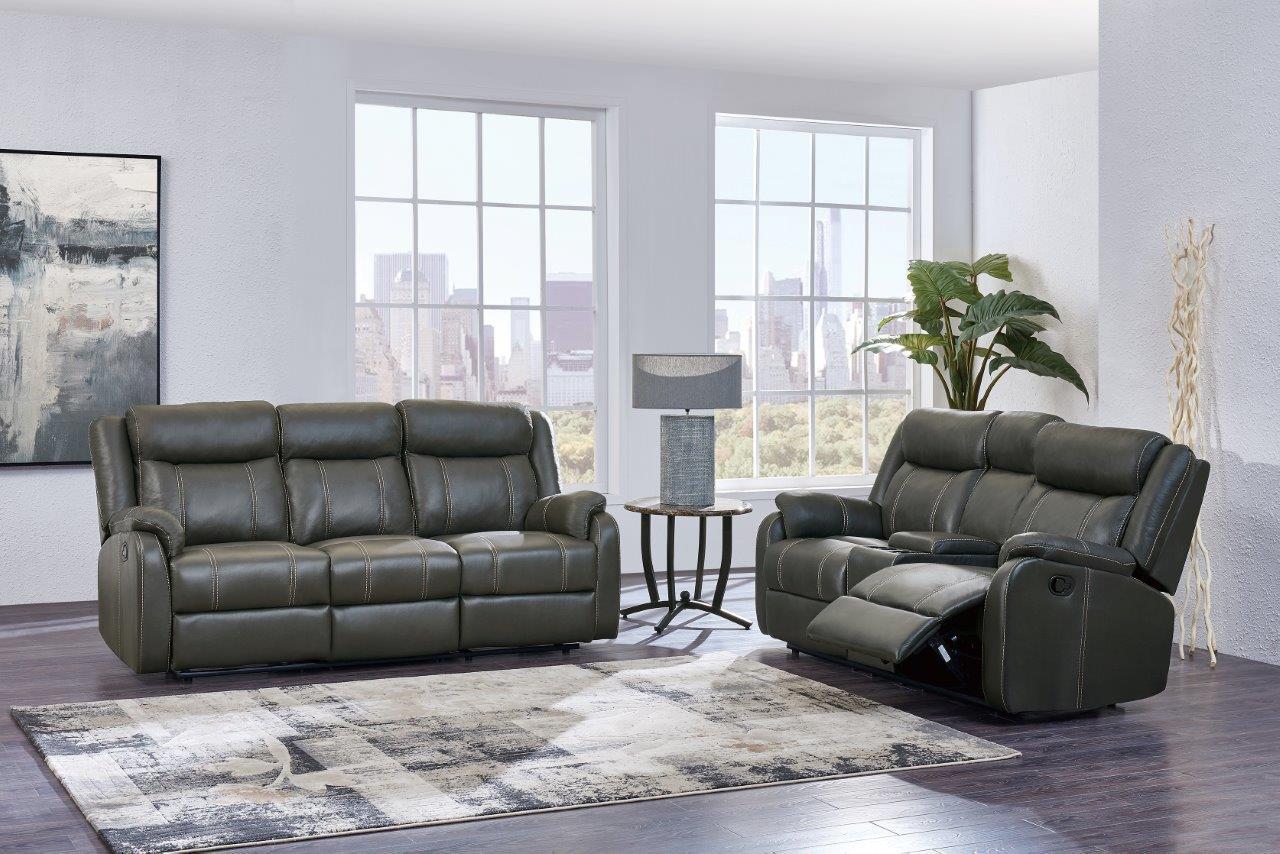 U7303 Gin Rummy Charcoal Fabric Reclining Sofa by Global Furniture
