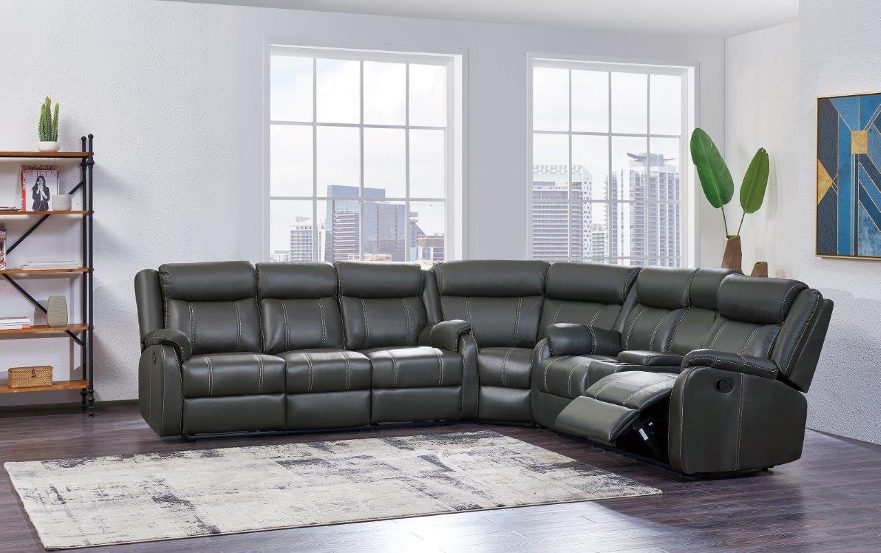 U7303 Gin Rummy Charcoal Fabric 3 Pc Sectional by Global Furniture